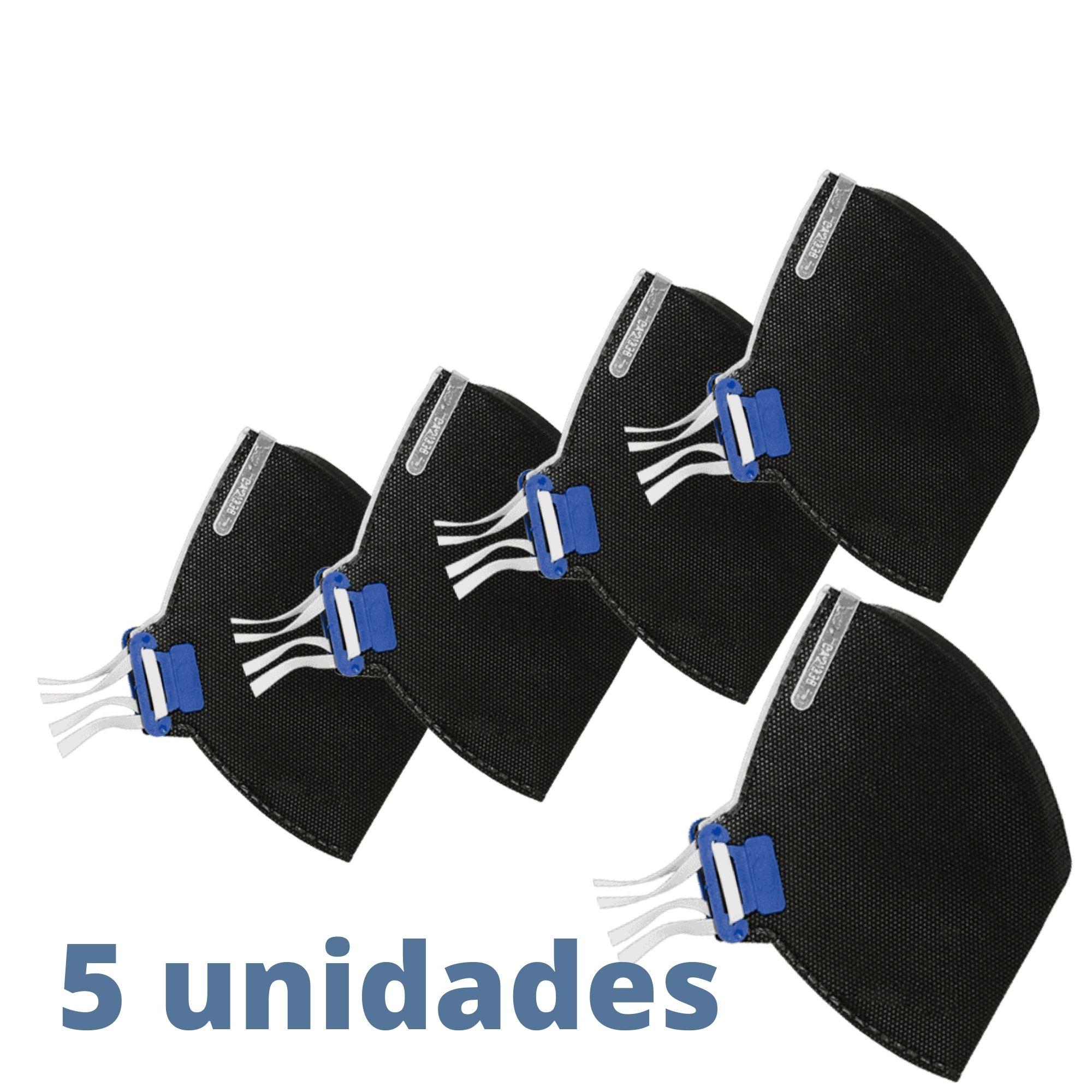 KIT DE 5 UNID - MÁSCARA DESCARTÁVEL PFF2-S SEM VALVULA  - CARVÃO ATIVADO PRETA - TAYCO  - DE PAULA EPI