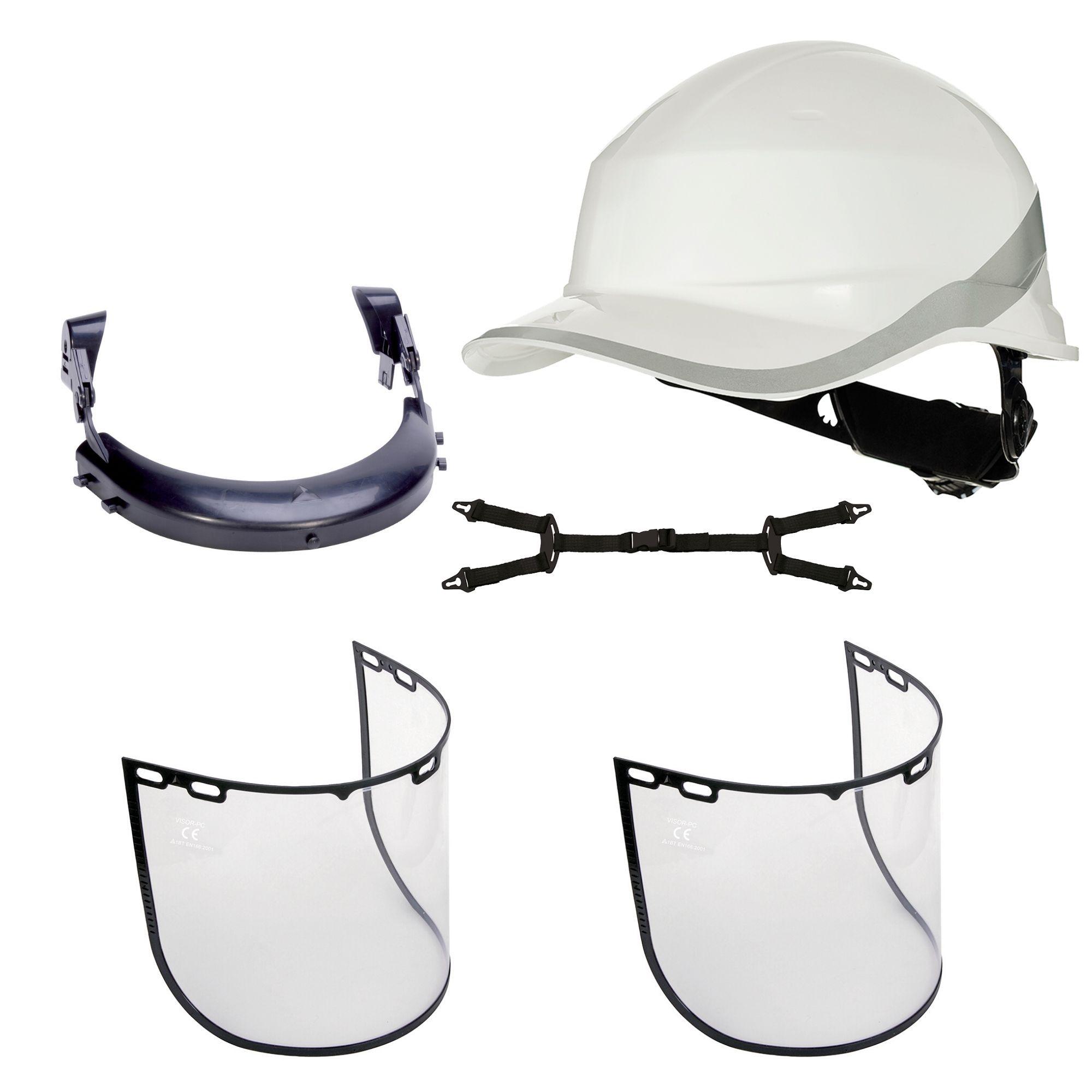 kit de capacete de segurança com suporte e 2peças de viserias  - DIAMOND DELTA PLUS  - DE PAULA EPI