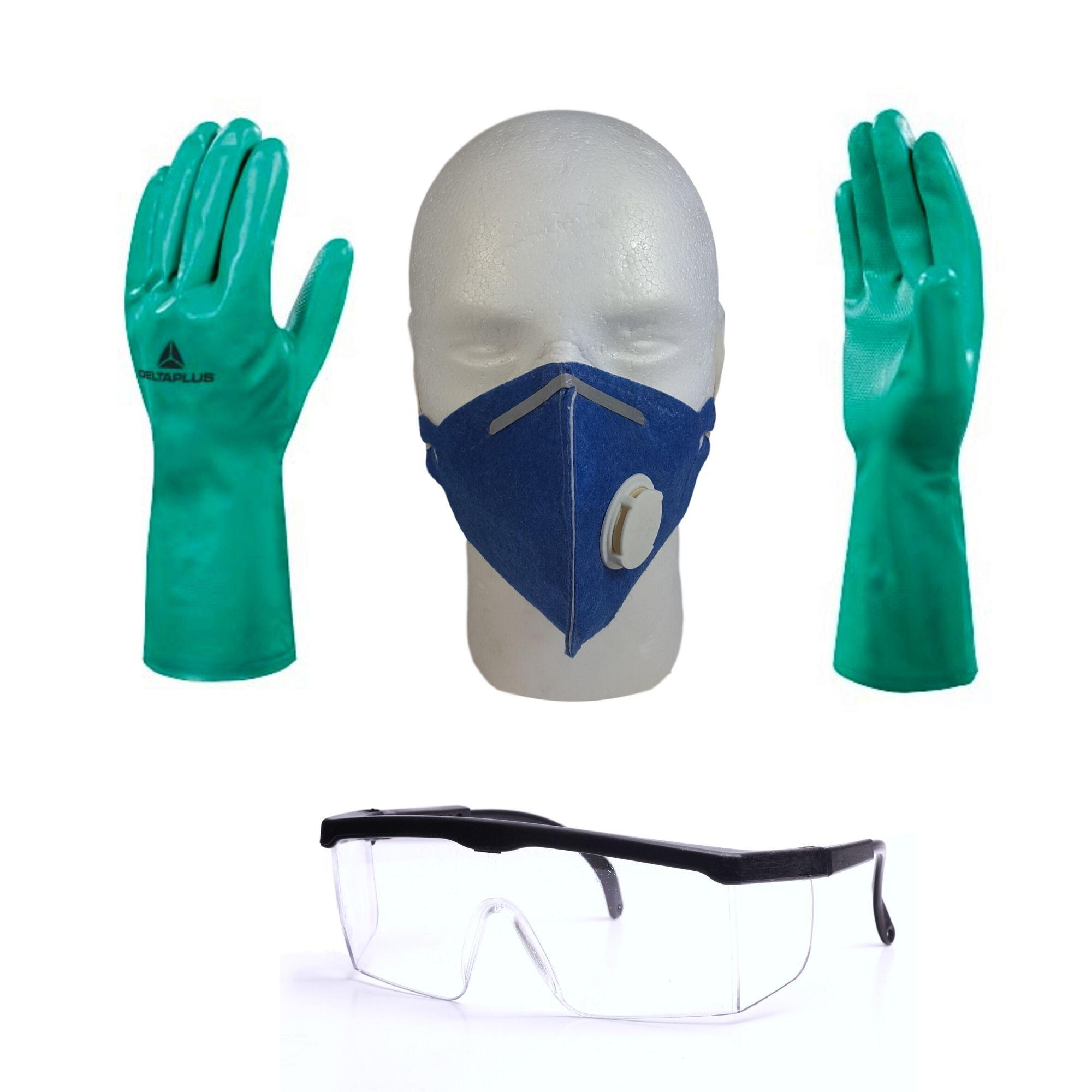 Kit De Epi Proteção Quimica, Mascara Óculos E Luva Nitrilica  - DE PAULA EPI