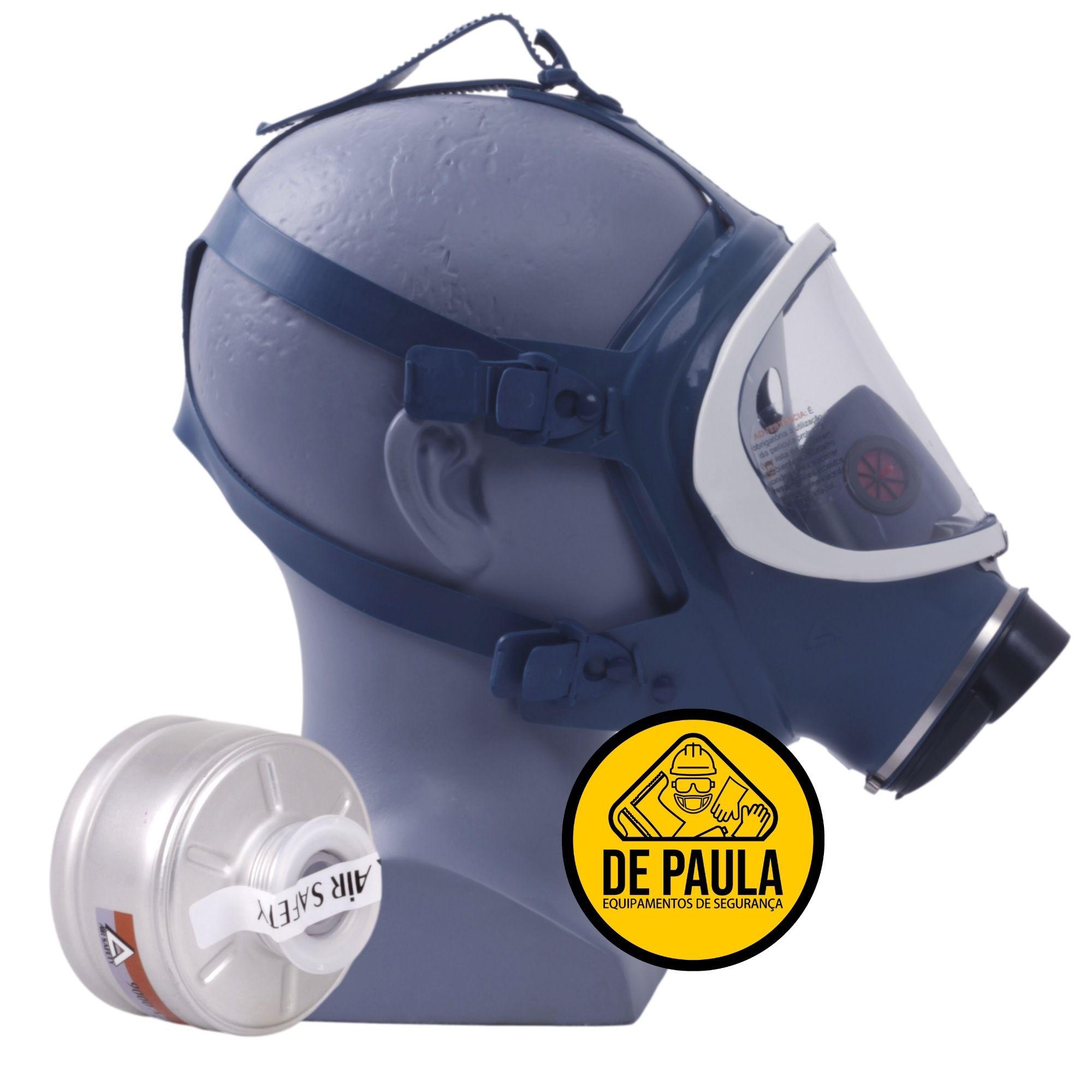 KIT MÁSCARA PANORAMICA FULL FACE - AIR SAFETY COM FILTRO VO/GA   - CA Nº 5758