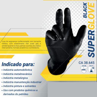 LUVA SUPER GLOVE BLACK PRETA MECANICA RESISTENTE RASGO E PRODUTOS QUÍMICOS  - CA 38645  - DE PAULA EPI