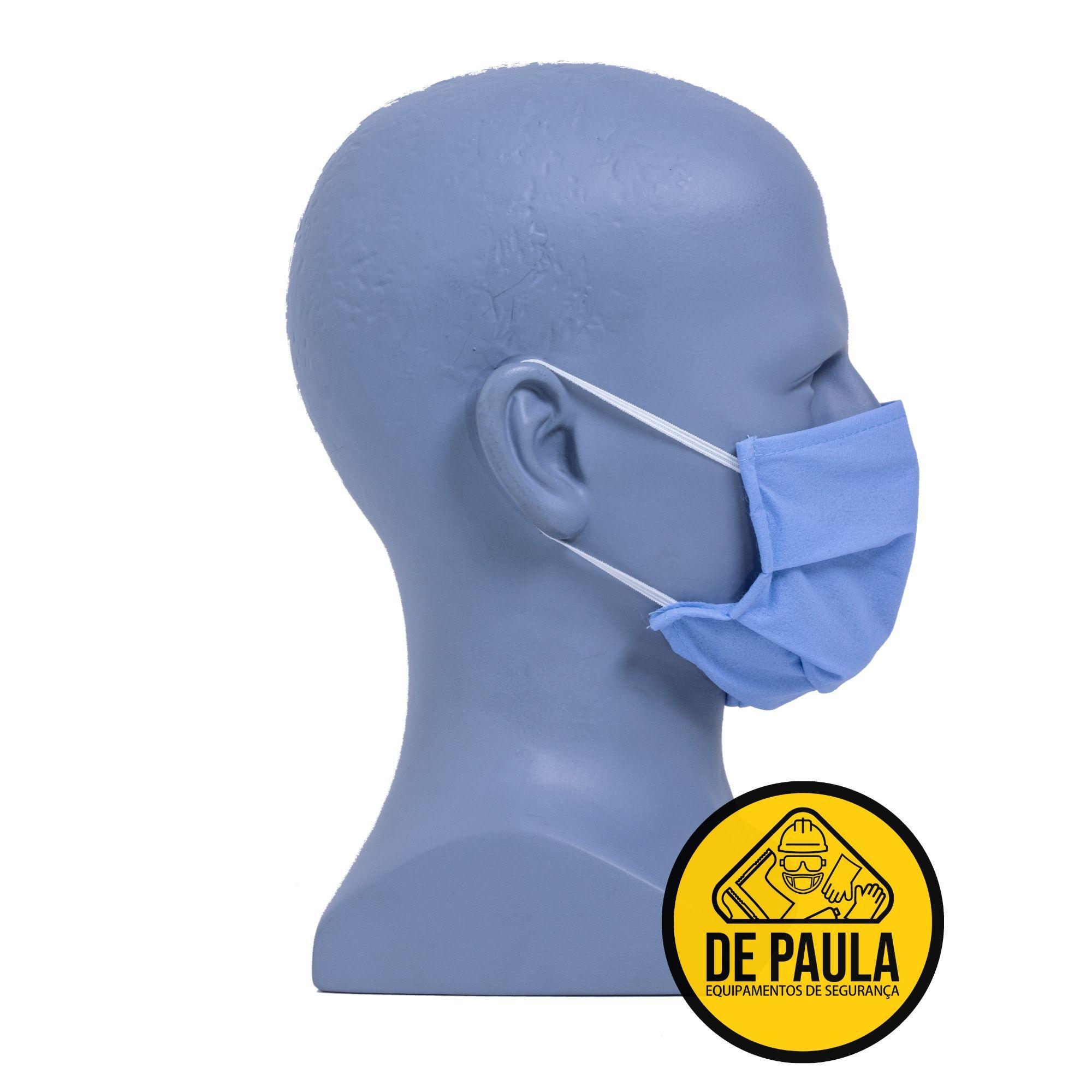 MÁSCARA EM TNT GRAMATURA 0,40 DUPLA CAMADA - PACTE 25  UNID  - DE PAULA EPI