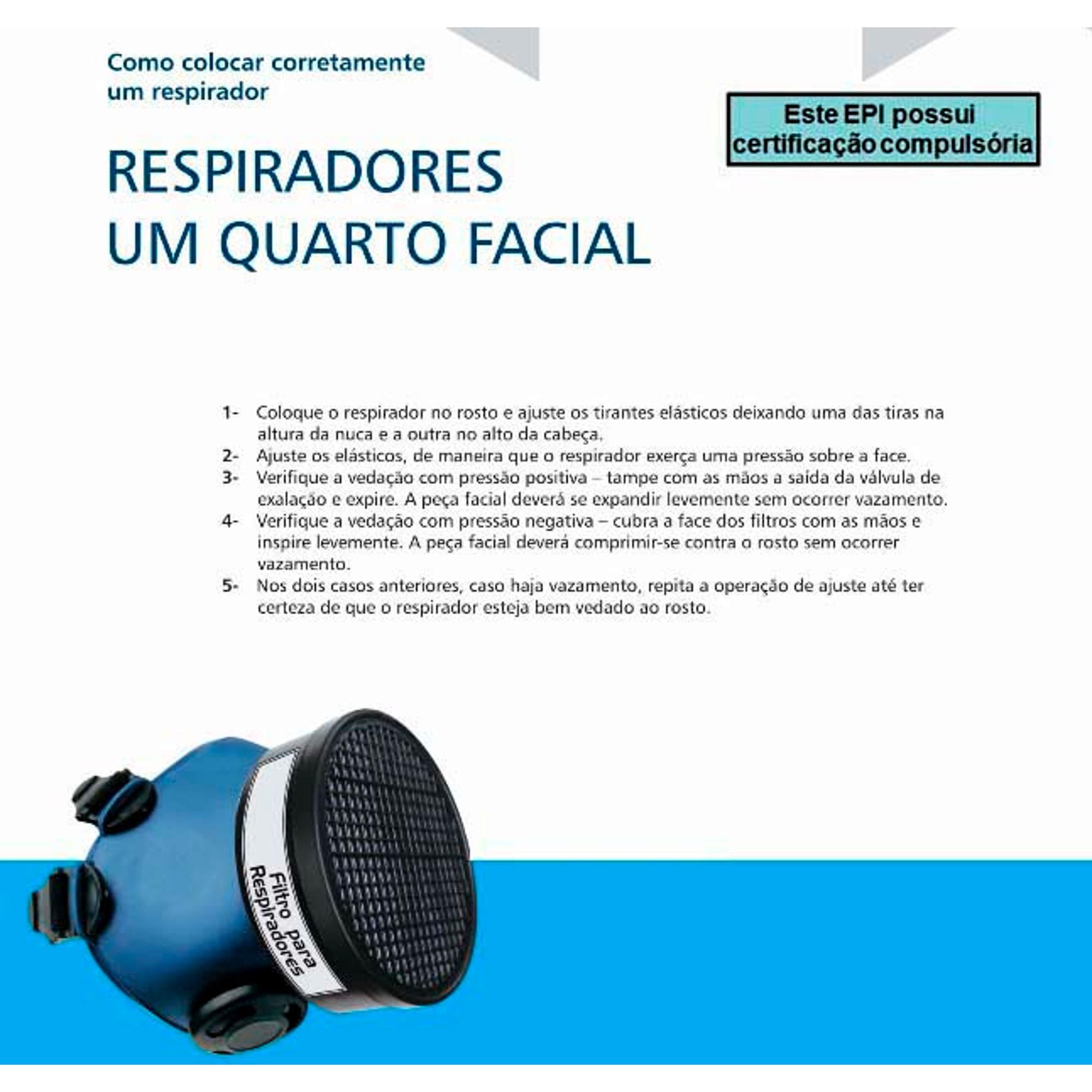 MÁSCARA 1/4 FACIAL COM FILTRO (P) VENENO AGROTÓXICOS E PESTICIDAS  - DE PAULA EPIS