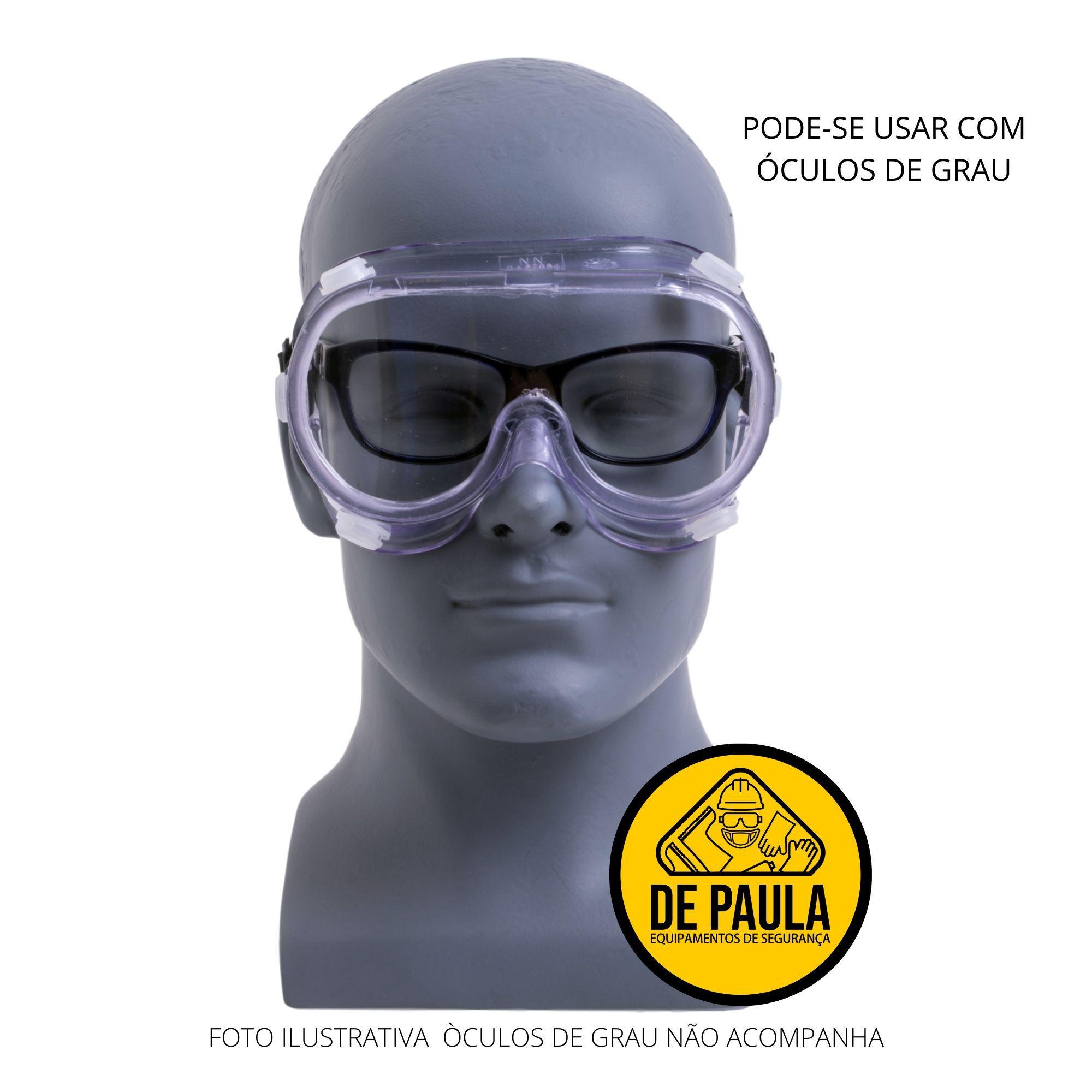 ÓCULOS DE SEGURANÇA AMPLA VISÃO COM VÁLVULA LENTE INCOLOR - CA 27.824