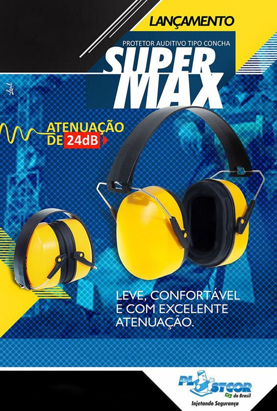 PROTETOR AUDITIVO ABAFADOR TIPO CONCHA SUPER MAX PLASTCOR - C.A.41.949  - DE PAULA EPIS