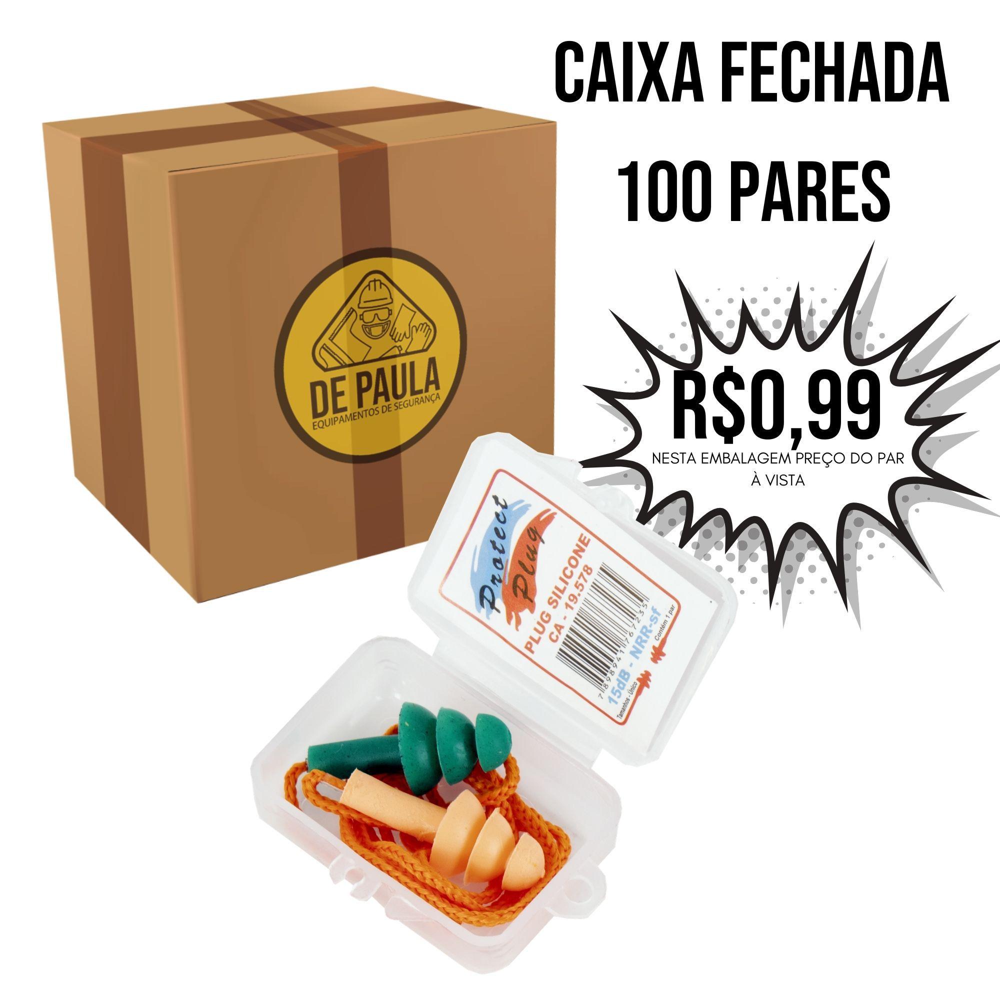 Protetor Auricular Silicone Bicolor Laranja e verde  15db CAIXA FECHADA 100 und  - DE PAULA EPI