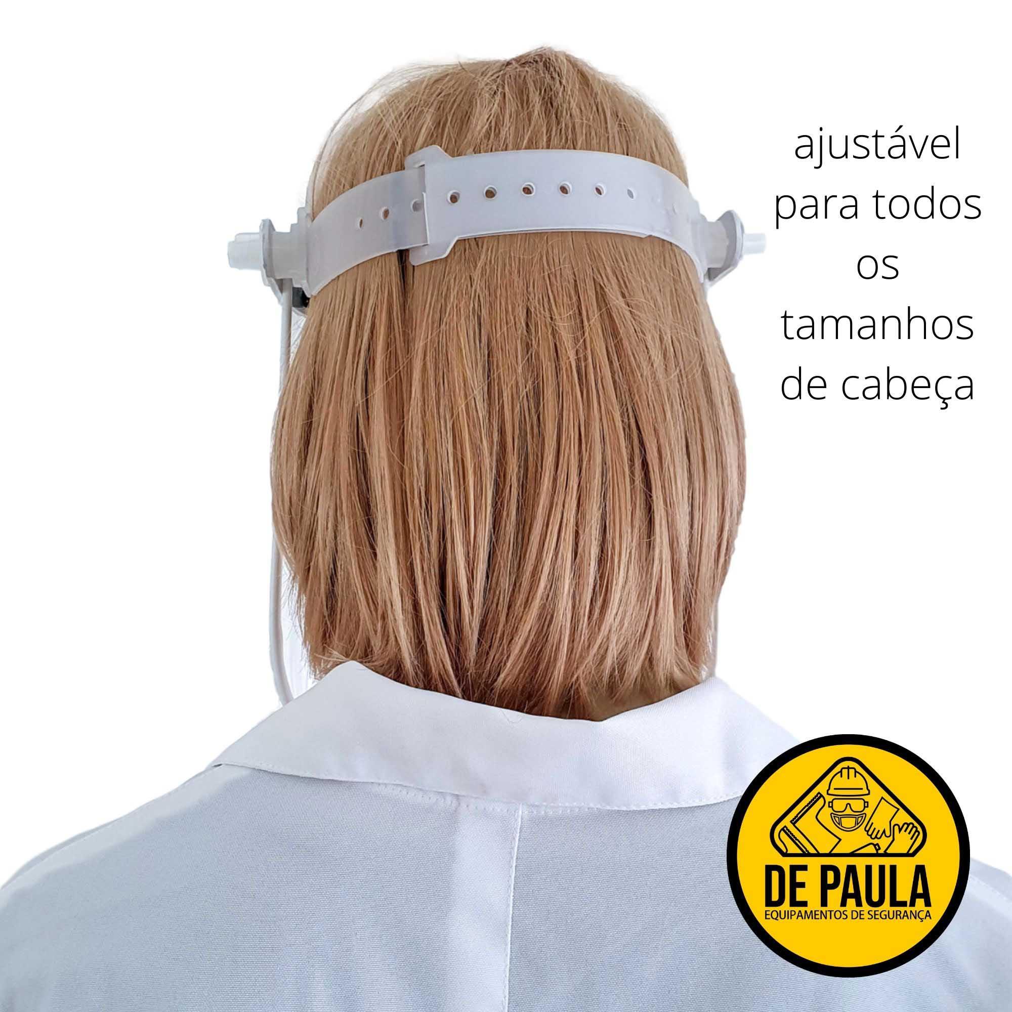 PROTETOR FACIAL VISOR TRANSPARENTE RETO BRANCO MÉDICOS ENFERMEIROS  - DE PAULA EPI