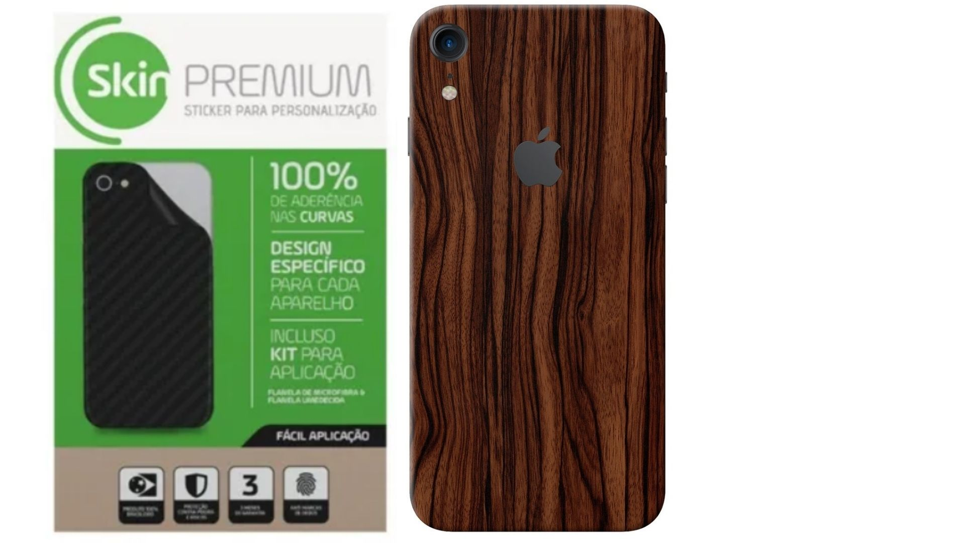Adesivo Premium - Estampa Madeira Apple Iphone Xr Verso e Laterais