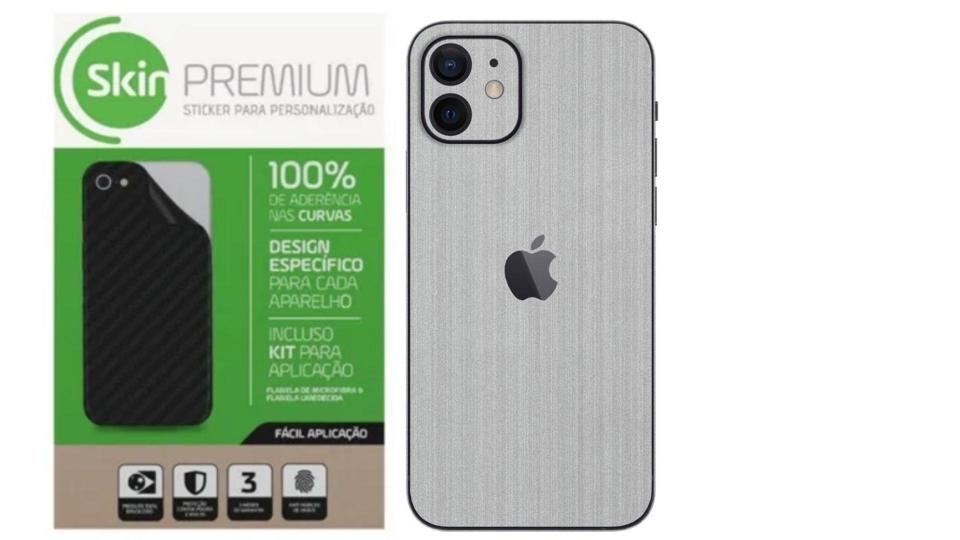 Skin Premium Verso e Laterais Estampa de Aço Escovado para iPhone 12