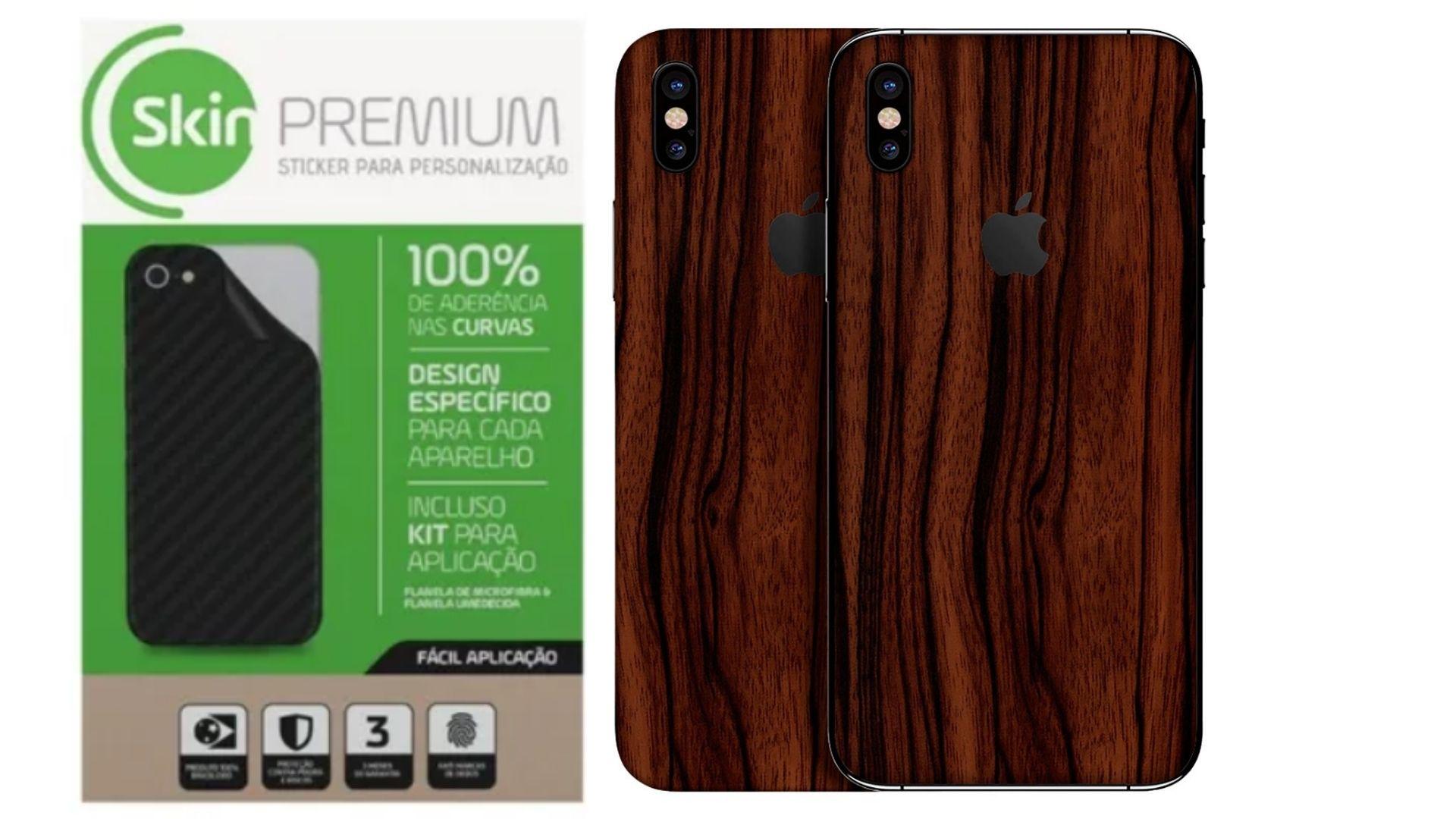 Skin Premium Verso e Laterais Estampa de Madeira para Apple Iphone Xs Max