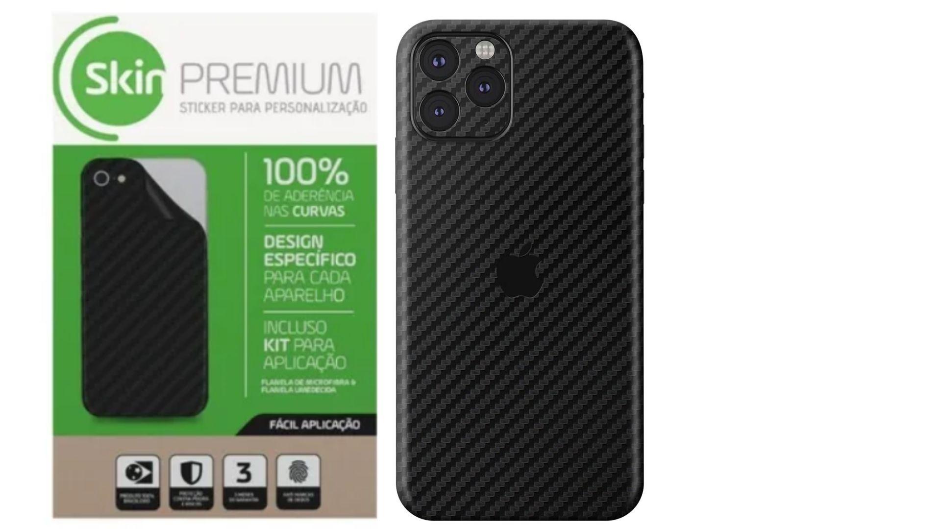 Skin Premium Estampa Fibra De Carbono Verso e Laterais para iPhone 11