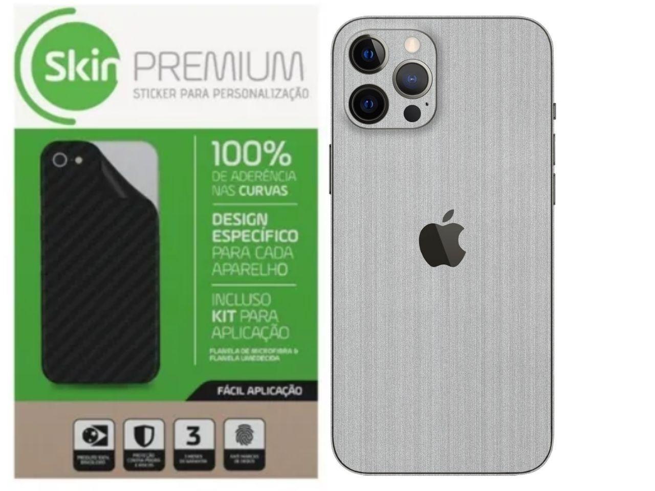 Skin Premium Verso e Laterais Estampa de Aço Escovado para Iphone 12 Pro Max