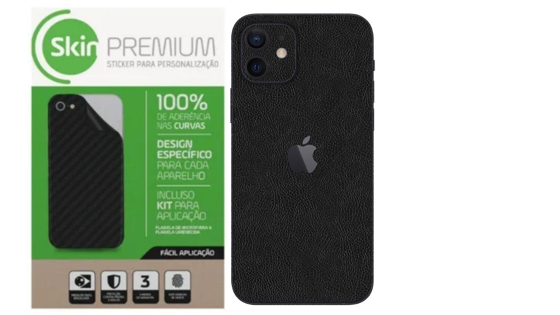 Skin Premium Verso e Laterais Estampa de Couro para Iphone 12 Mini