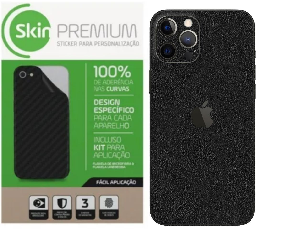 Skin Premium Verso e Laterais Estampa de Couro para Iphone 12 Pro Max