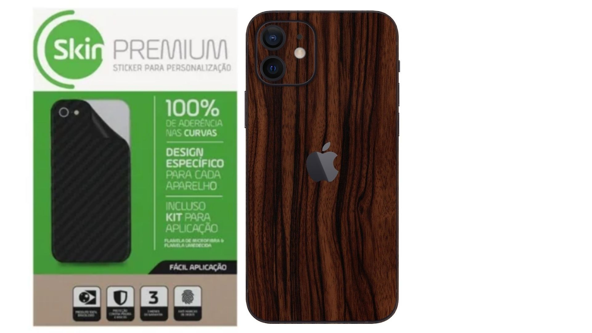 Skin Premium Verso e Laterais Estampa de Madeira para Iphone 12 Mini
