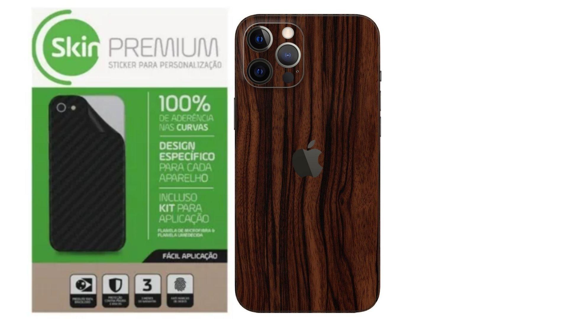Skin Premium Verso e Laterais Estampa de Madeira para Iphone 12 Pro Max