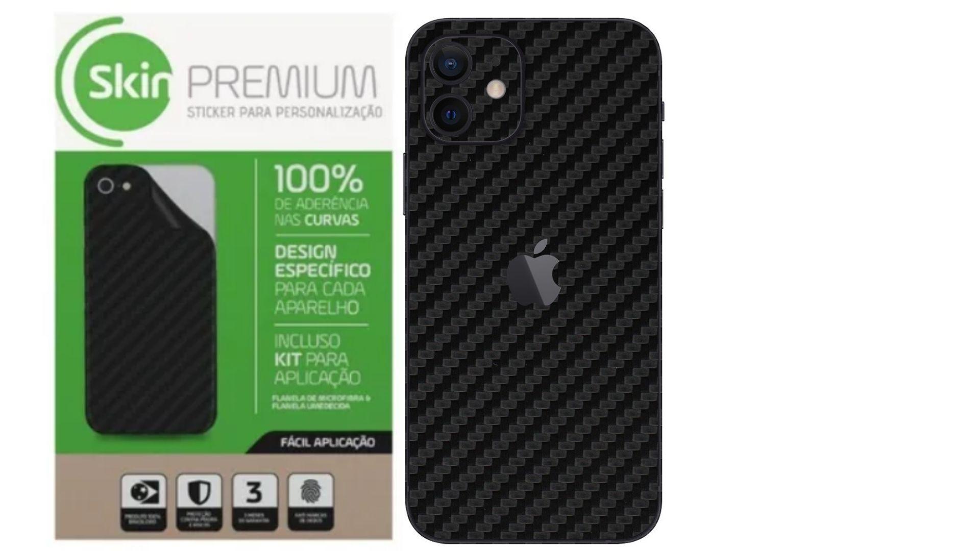 Skin Premium Verso e Laterais Fibra de Carbono para Iphone 12 Mini