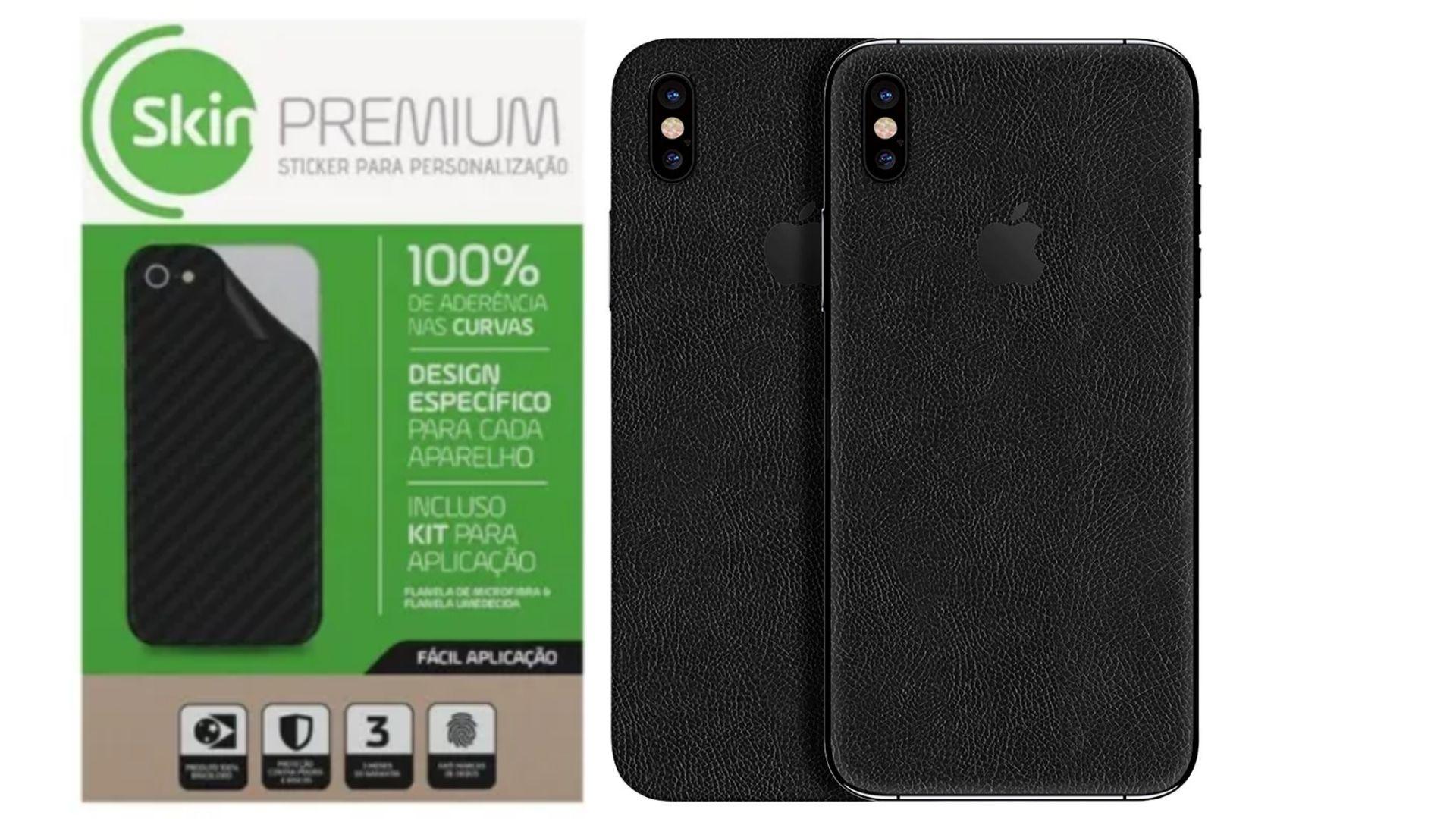 Skin Premium - Adesivo Estampa Couro iPhone X/XS Verso e Laterais