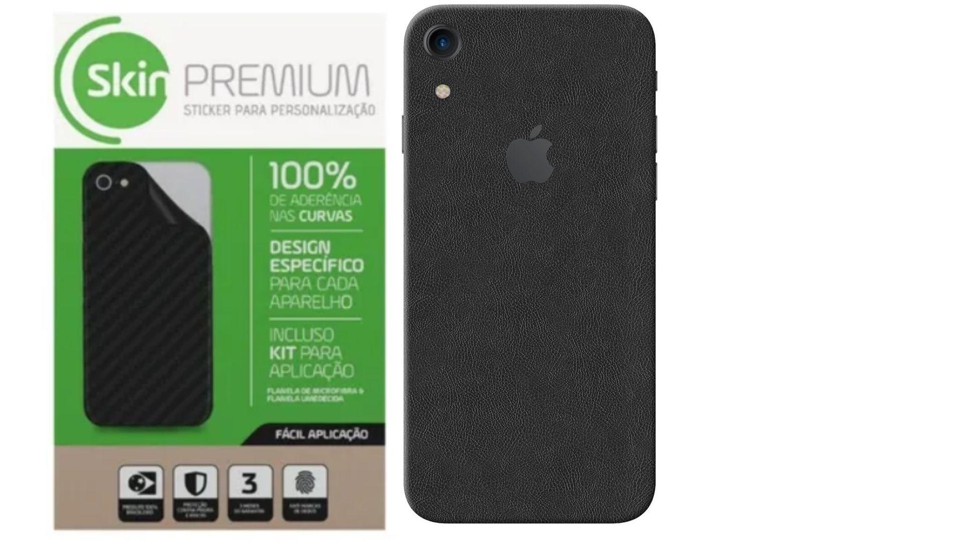 Skin Premium - Adesivo Estampa Couro Iphone Xr Verso e Laterais