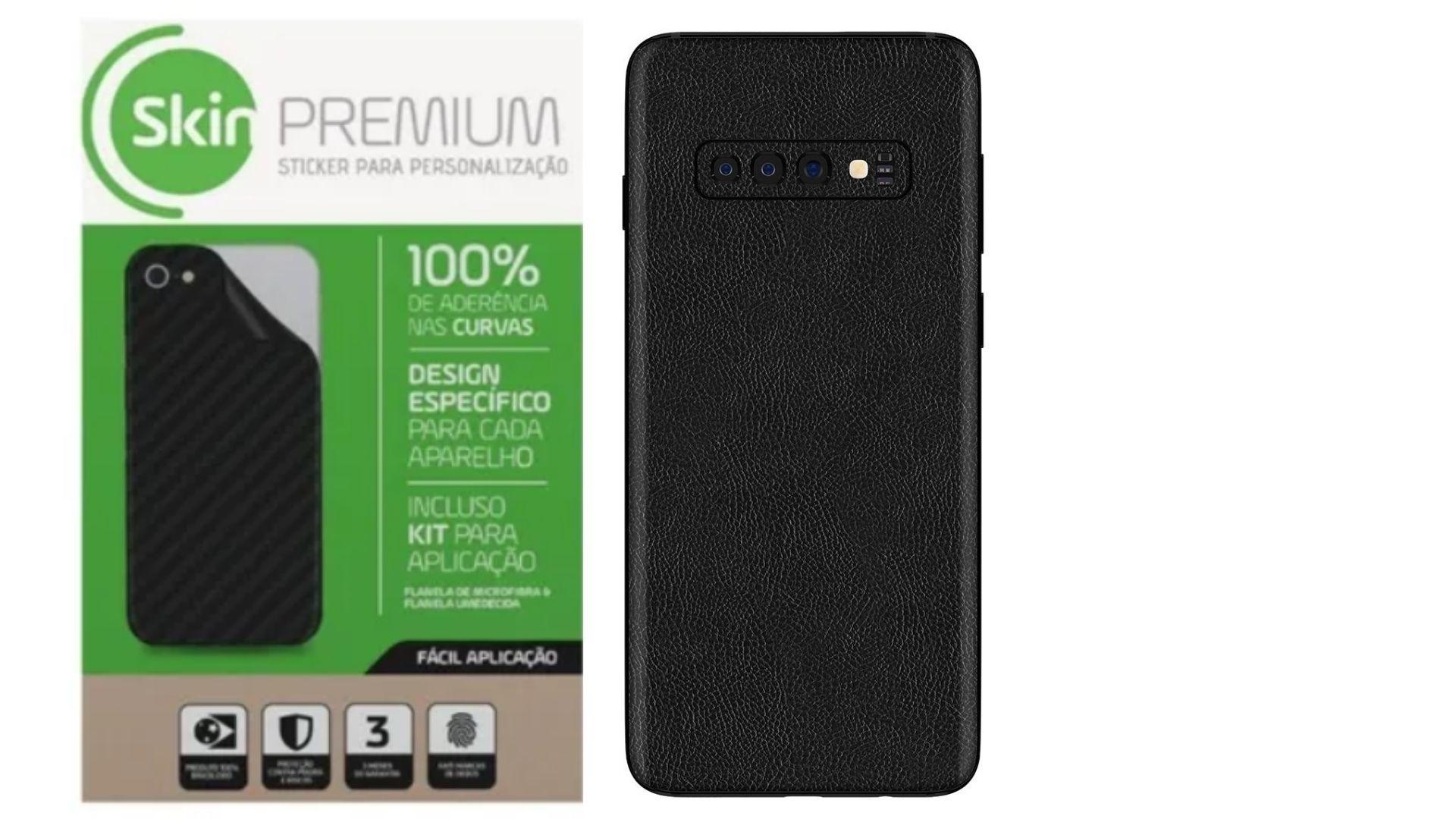 Skin Premium Adesivo Estampa de Couro Verso e Laterais para Samsung Galaxy S10 Plus