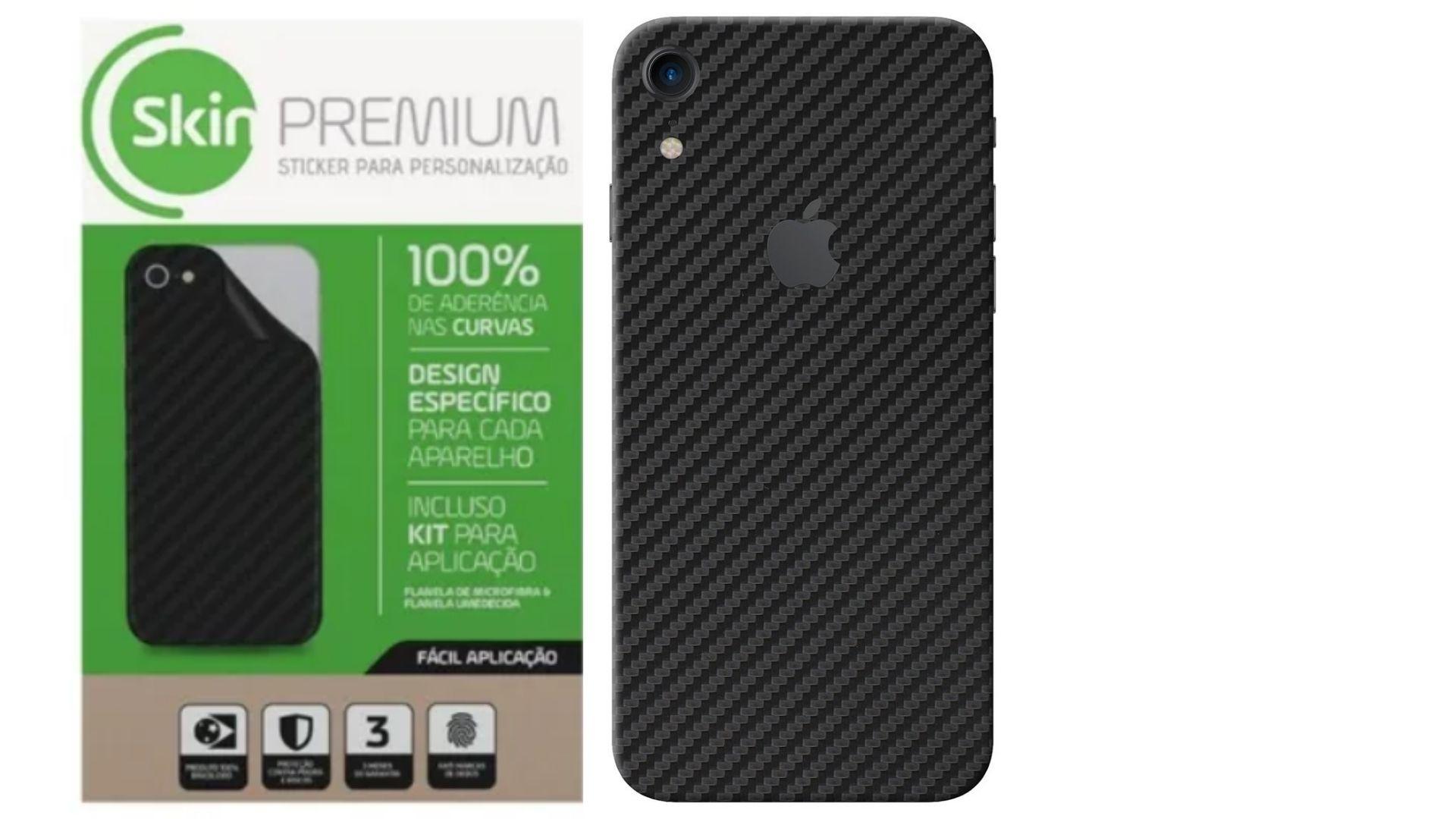Skin Premium - Adesivo Fibra Carbono Apple Iphone Xr Verso e Laterais