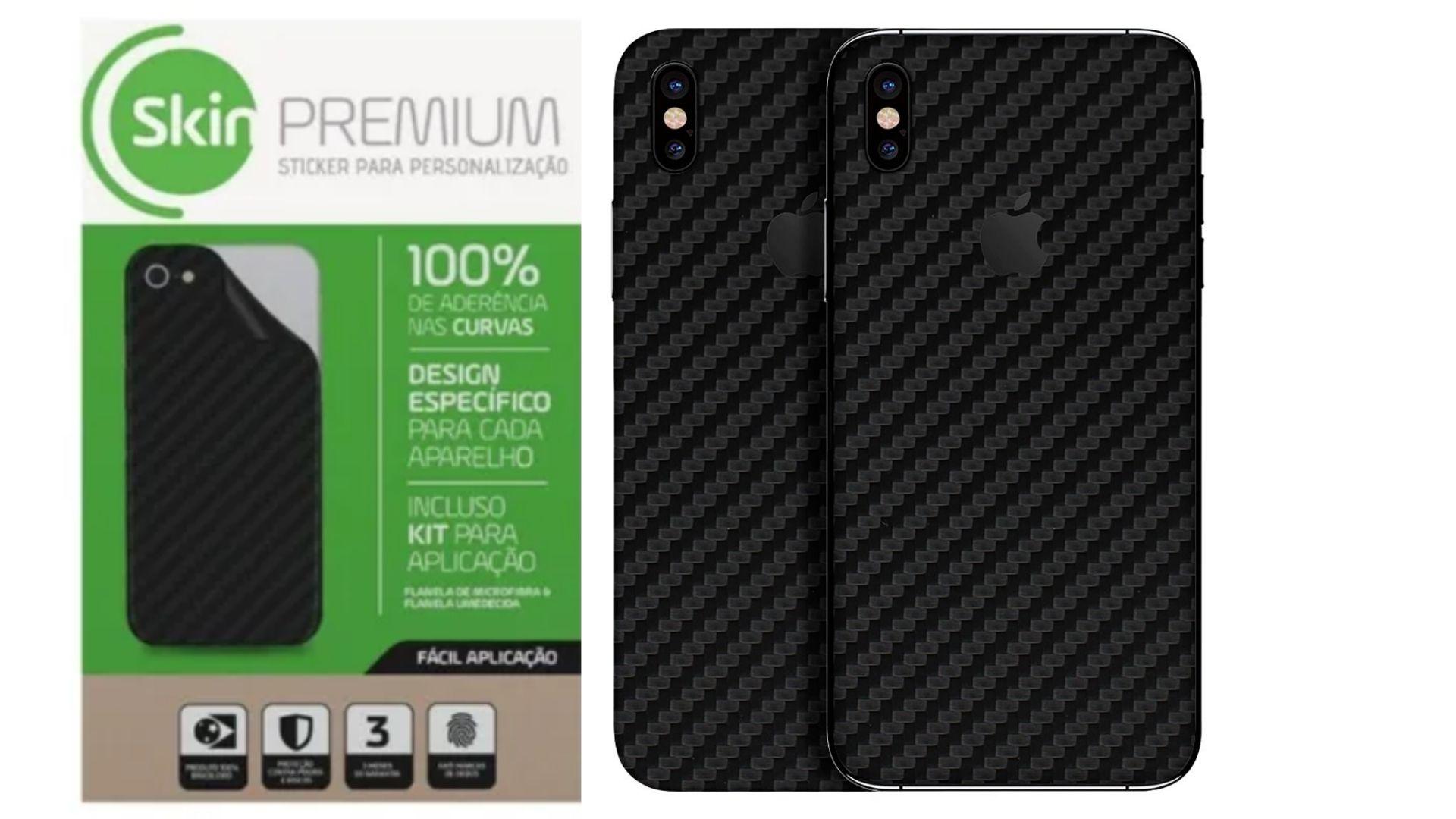 Skin Premium - Adesivo Fibra Carbono iPhone X/XS Verso e Laterais