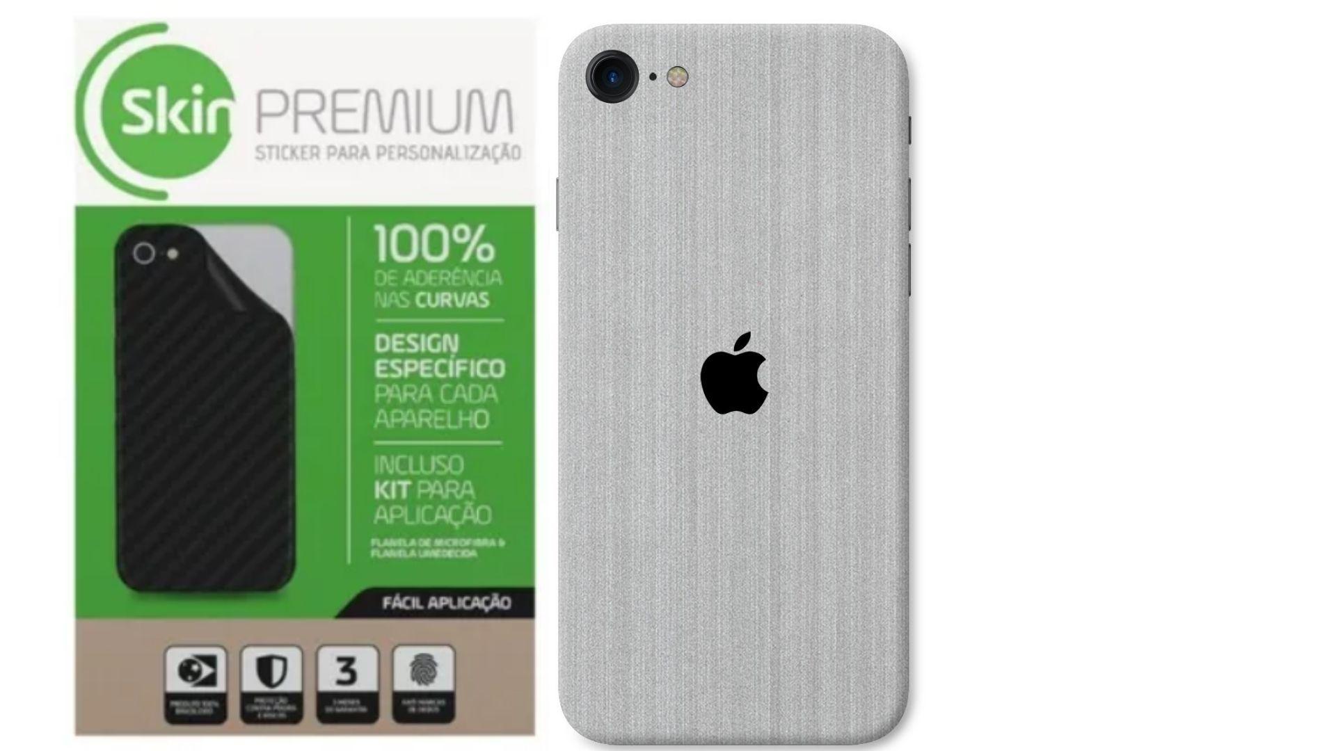 Skin Premium Verso e Laterais Estampa Aço Escovado para iPhone SE 2020