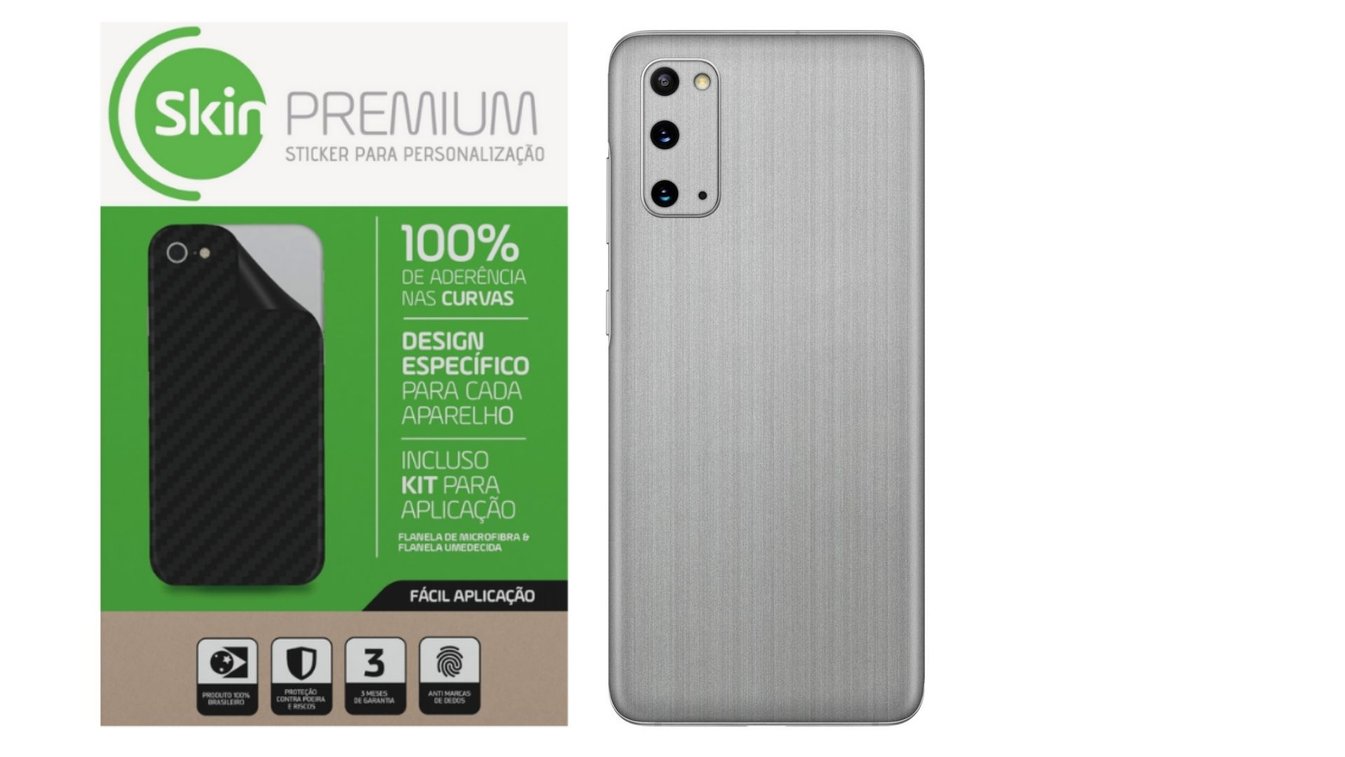 Skin Premium Estampa Aço Escovado para Samsung Galaxy S20