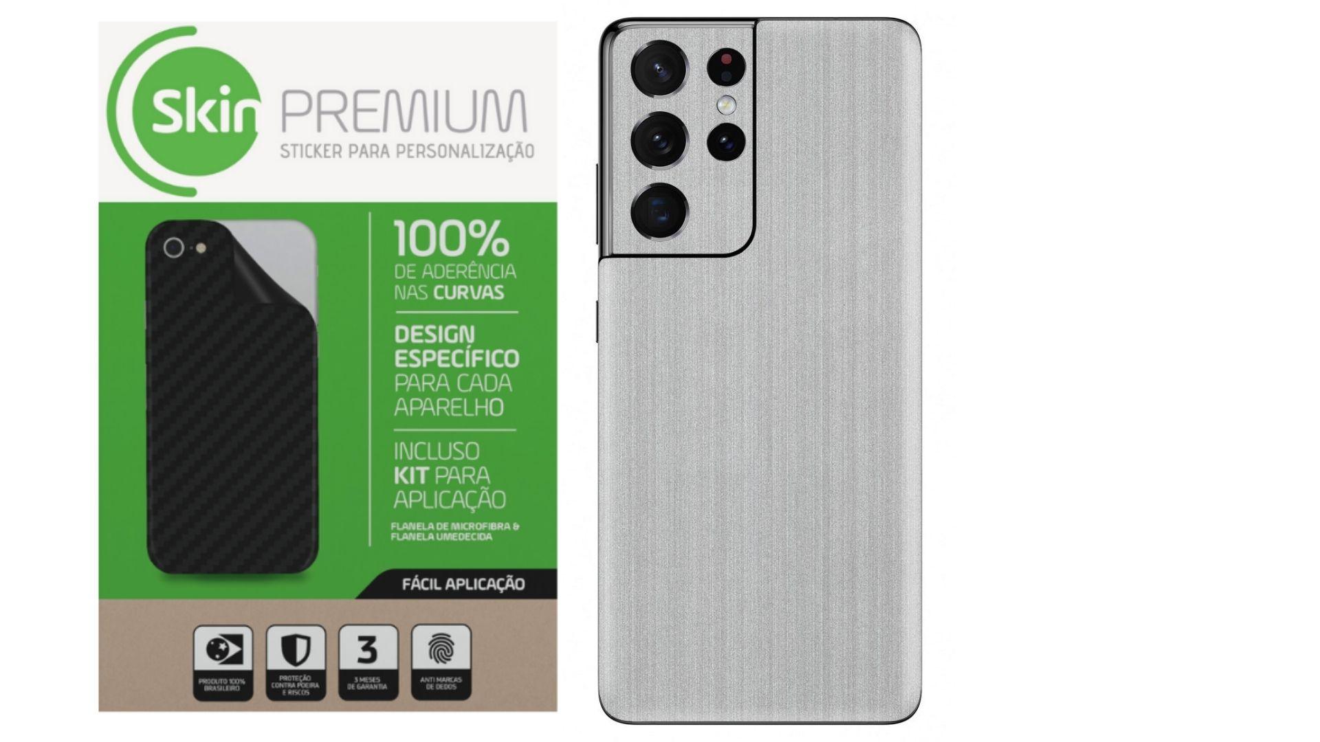 Skin Premium Estampa Aço Escovado para Samsung Galaxy S21 Ultra