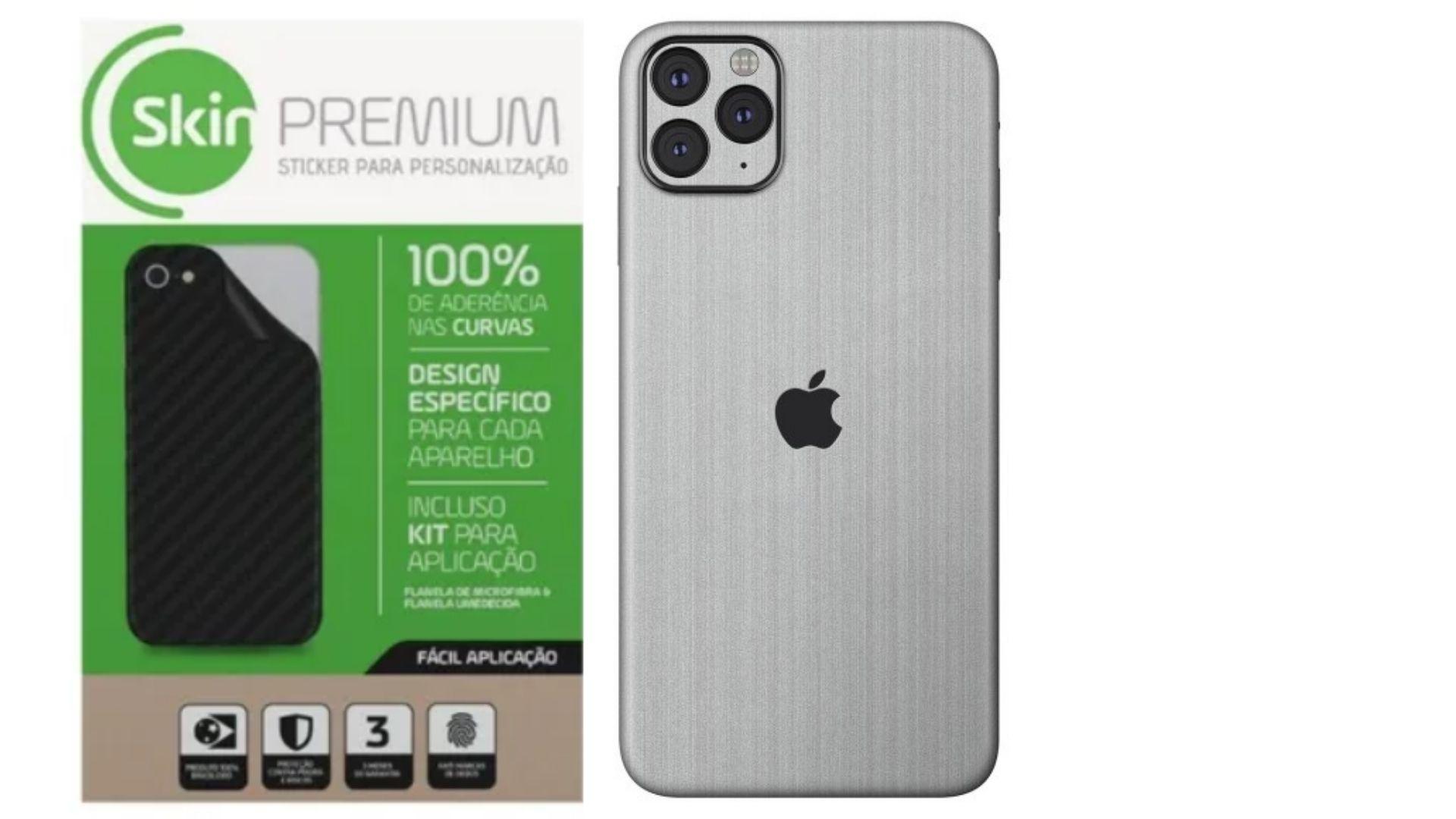 Skin Premium Estampa Aço Escovado Verso e Laterais para Iphone 11 Pro Max