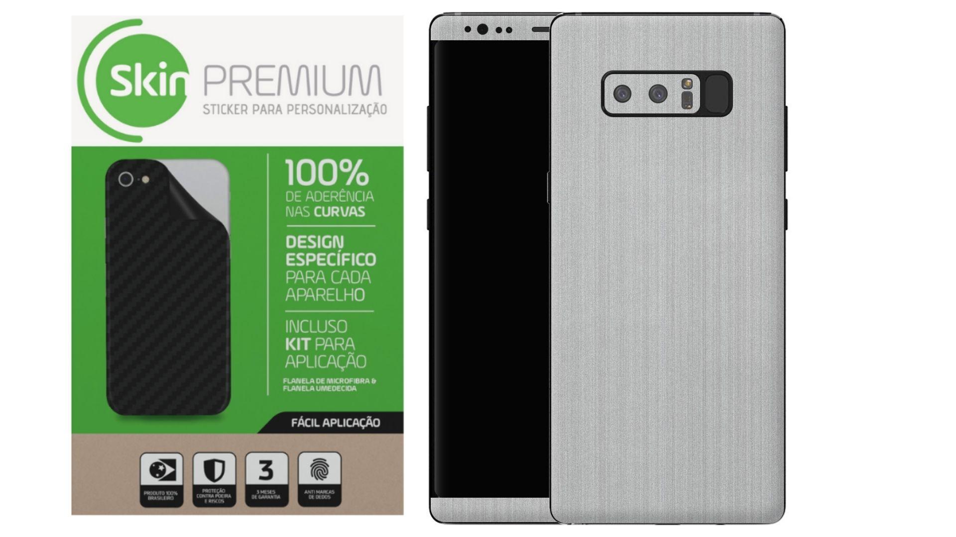 Skin Premium Estampa de Aço Escovado Verso e Laterais para Samsung Galaxy Note 8