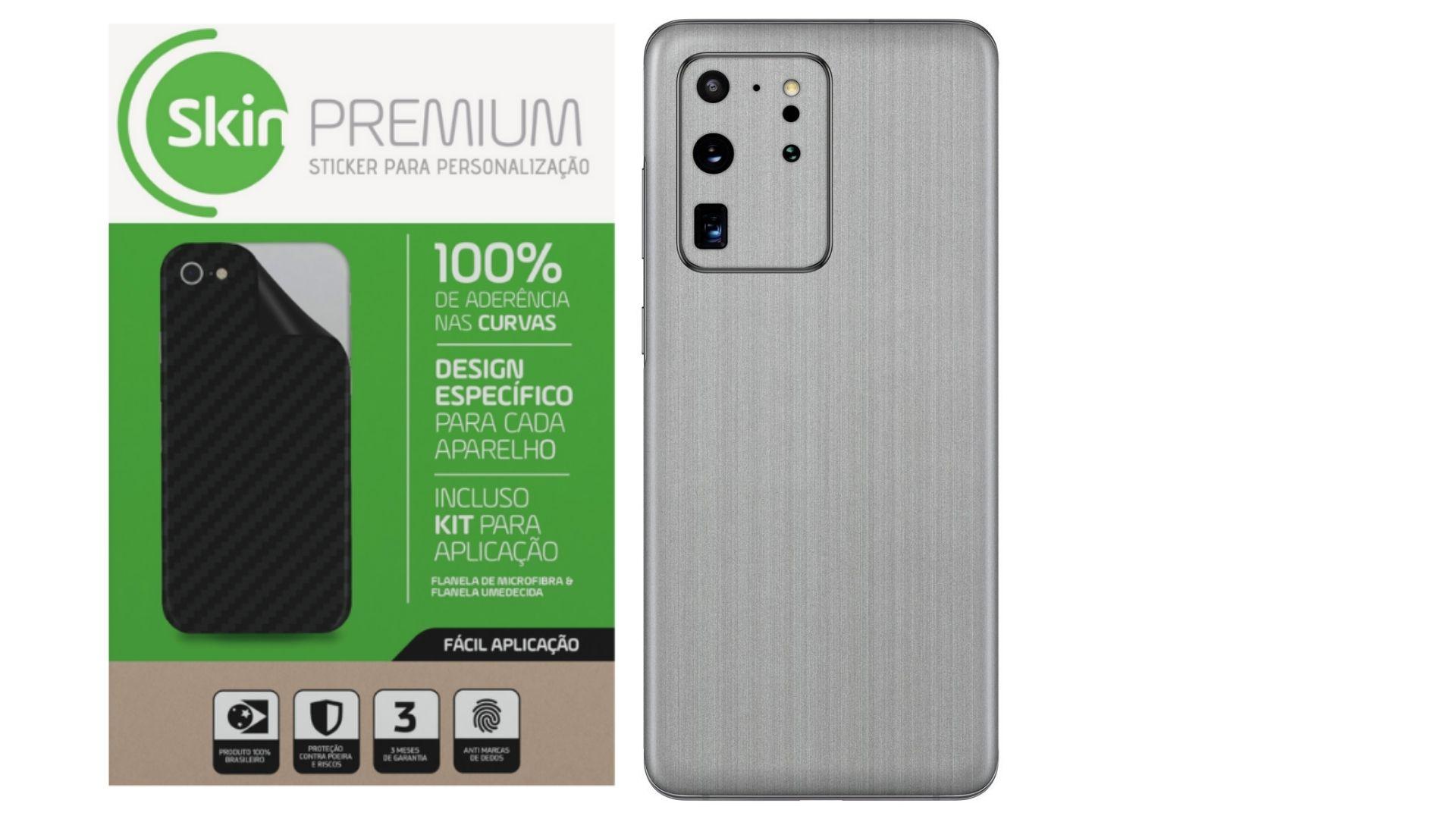 Skin Premium Estampa de Aço Escovado para Samsung Galaxy S20 Ultra