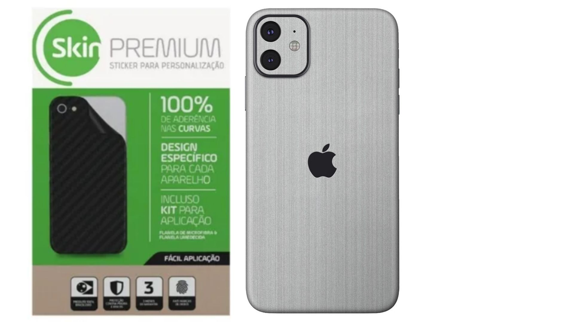 Skin Premium Estampa de Aço Escovado Verso e Laterais para IPhone 11