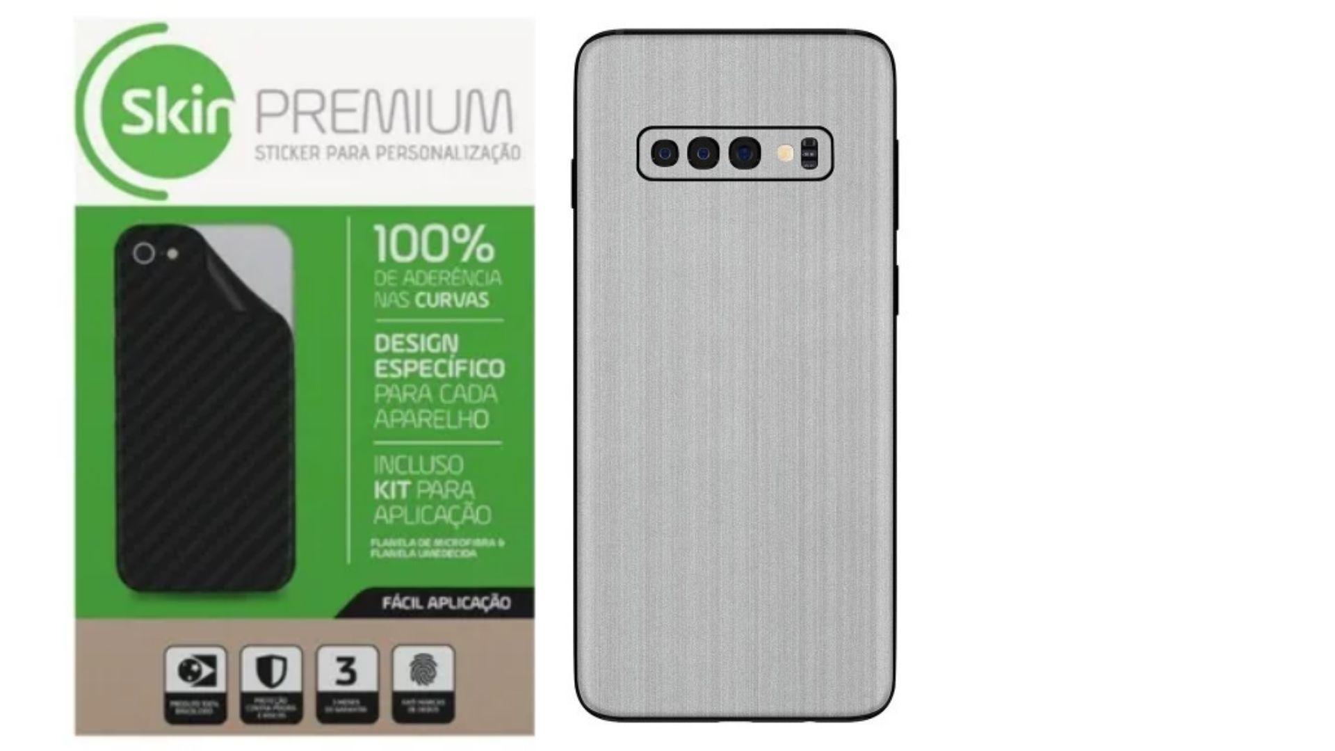 Skin Premium Estampa de Aço Escovado Verso e Laterais para Samsung Galaxy S10 Plus