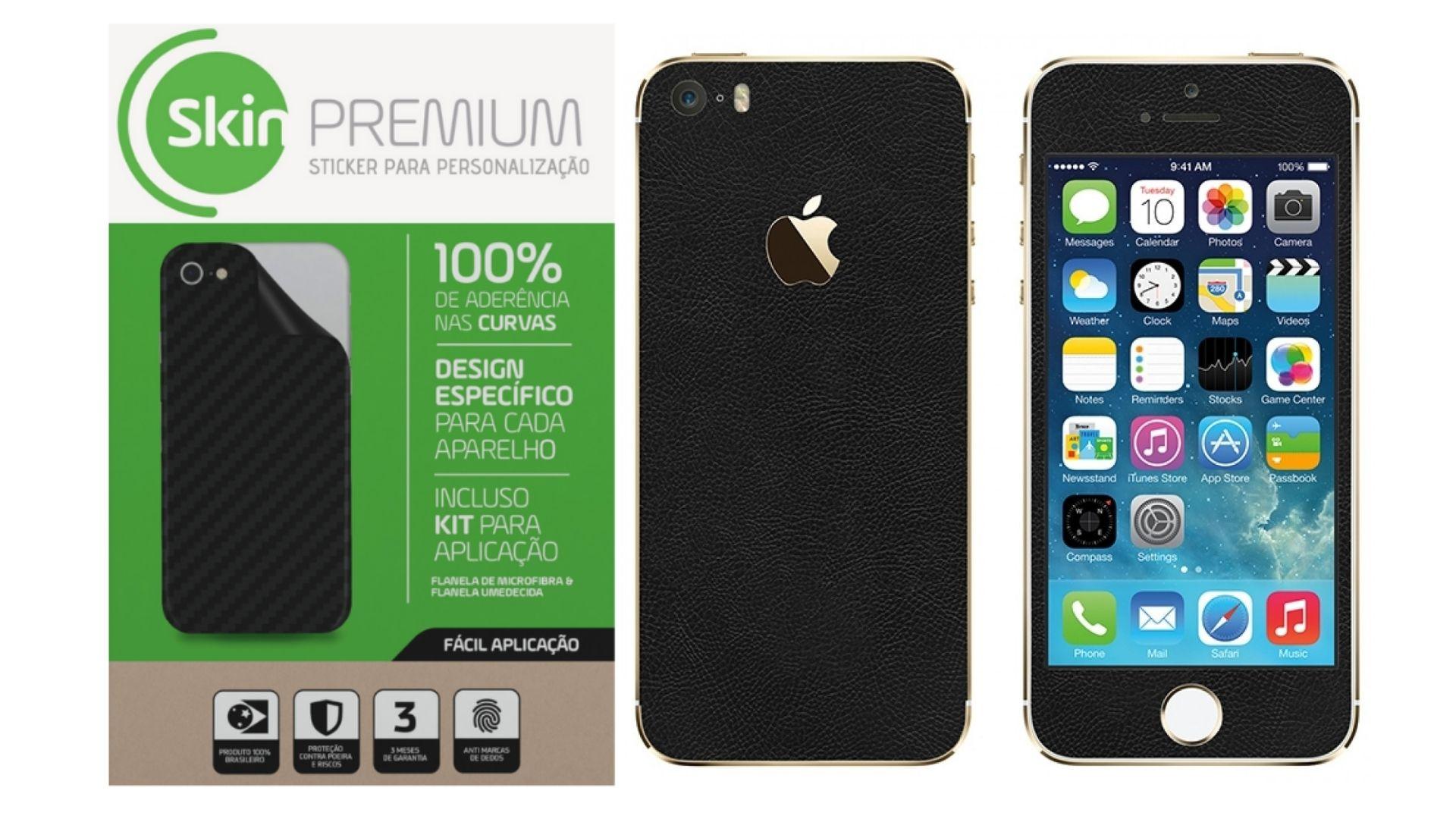 Skin Premium  Estampa de Couro Verso e Laterais para Iphone 5/5s/Se