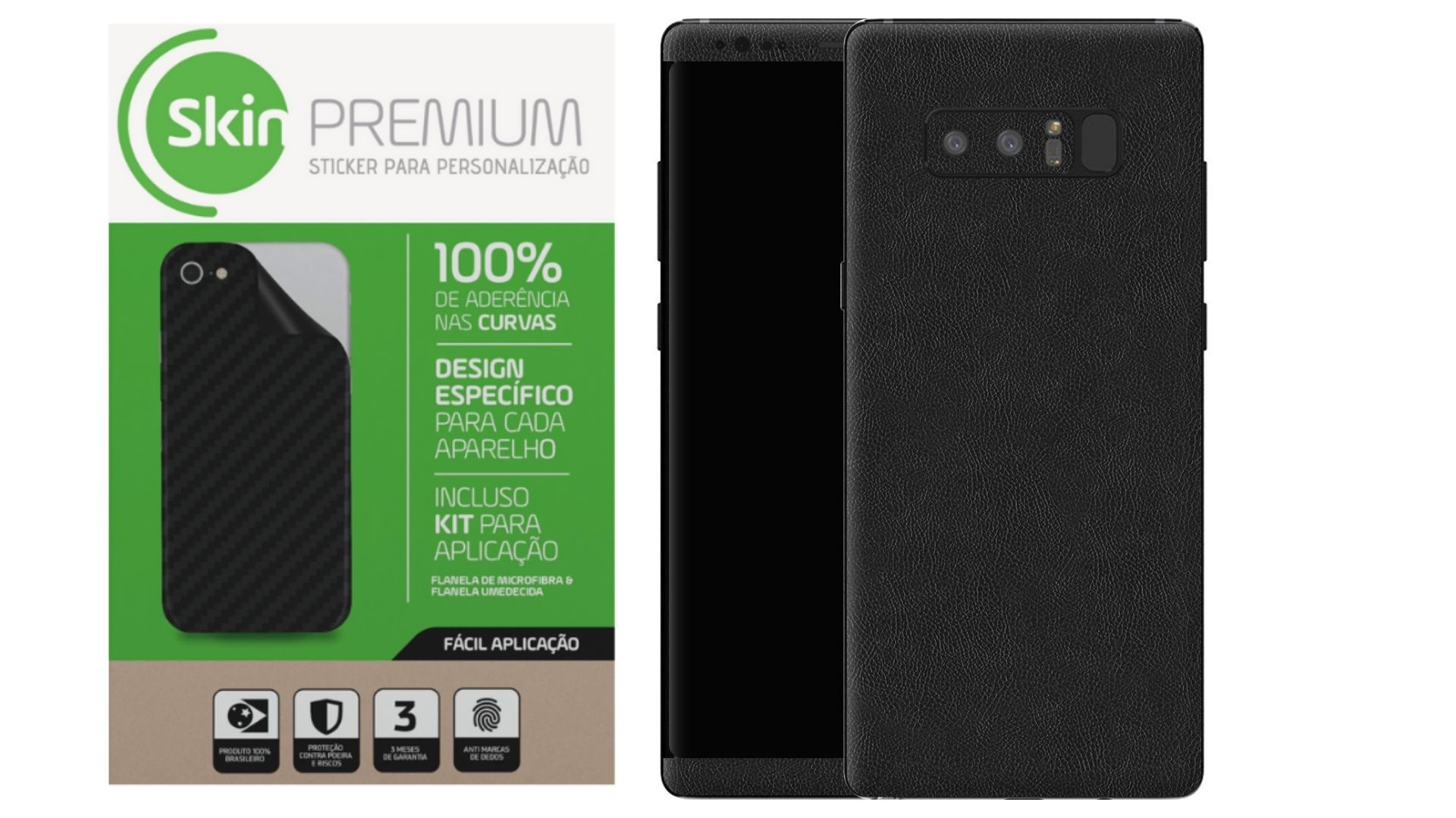 Skin Premium Estampa de Couro Verso e Laterais para Samsung Galaxy Note 8