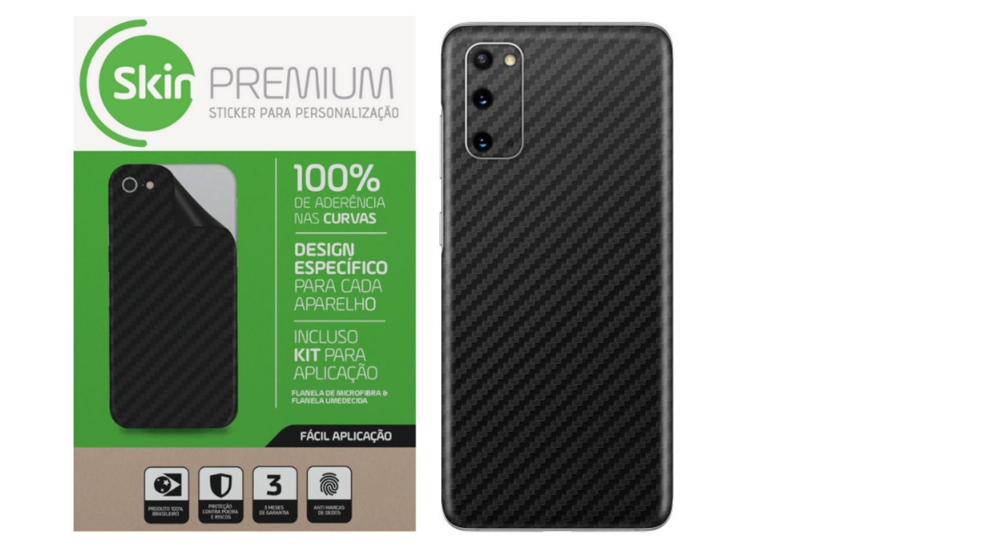 Skin Premium Estampa de Fibra de Carbono para Samsung Galaxy S20