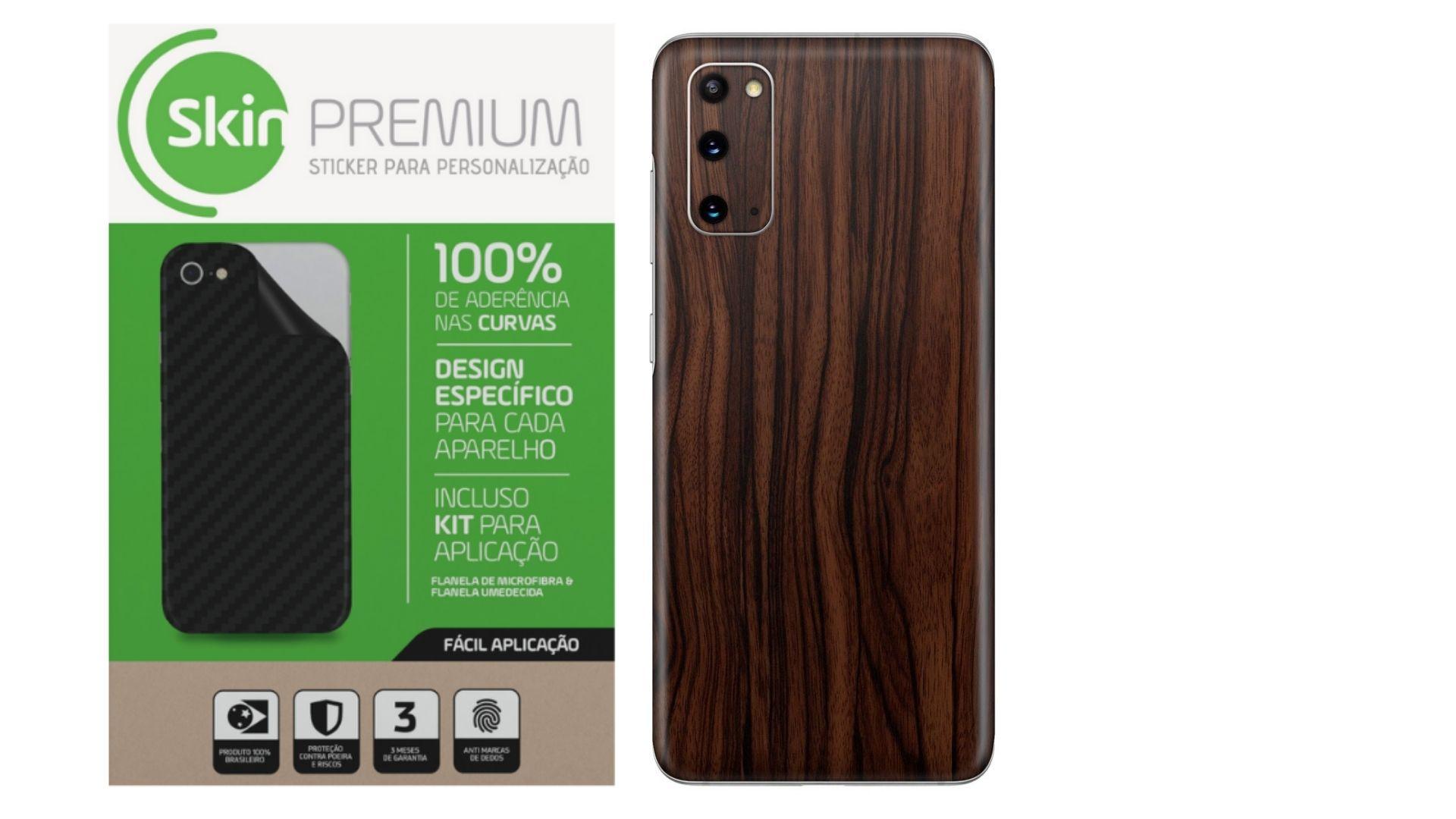 Skin Premium  Estampa De Madeira Escura para Samsung Galaxy S20