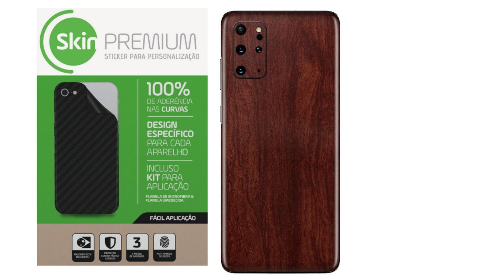 Skin Premium Estampa de Madeira Escura para Samsung Galaxy S20 Plus