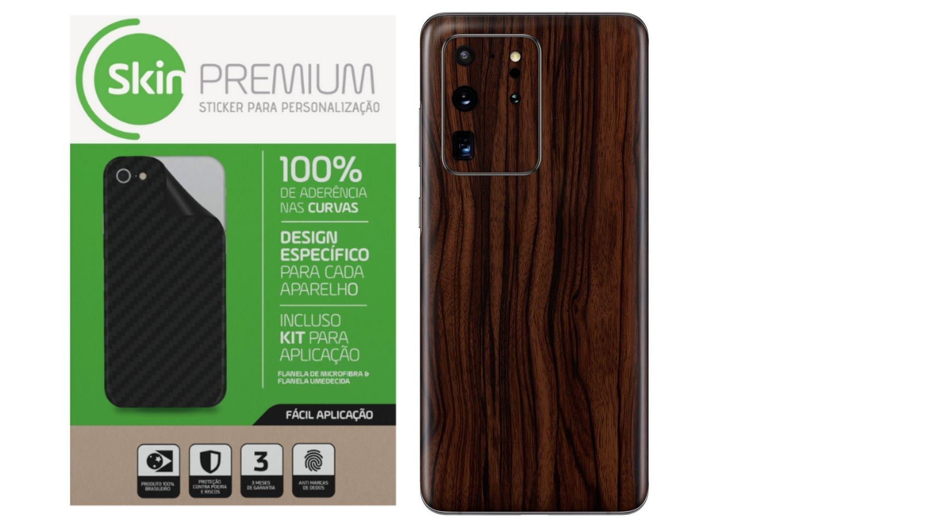 Skin Premium Estampa de Madeira Escura para Samsung Galaxy S20 Ultra