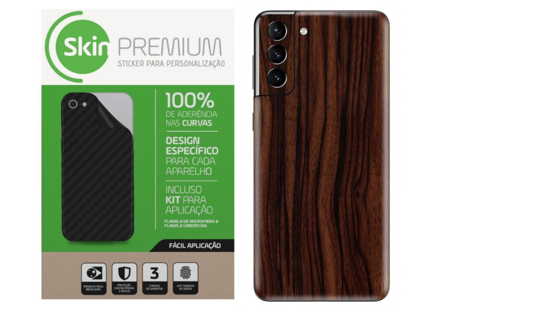 Skin Premium Estampa de Madeira Escura para Samsung Galaxy S21