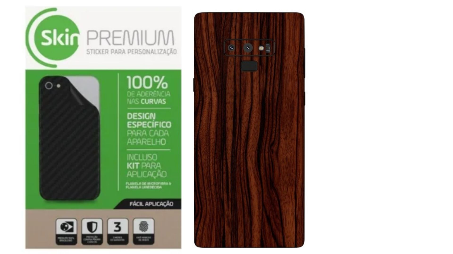 Skin Premium  Estampa De Madeira Verso e Laterais para Samsung Galaxy Note 9