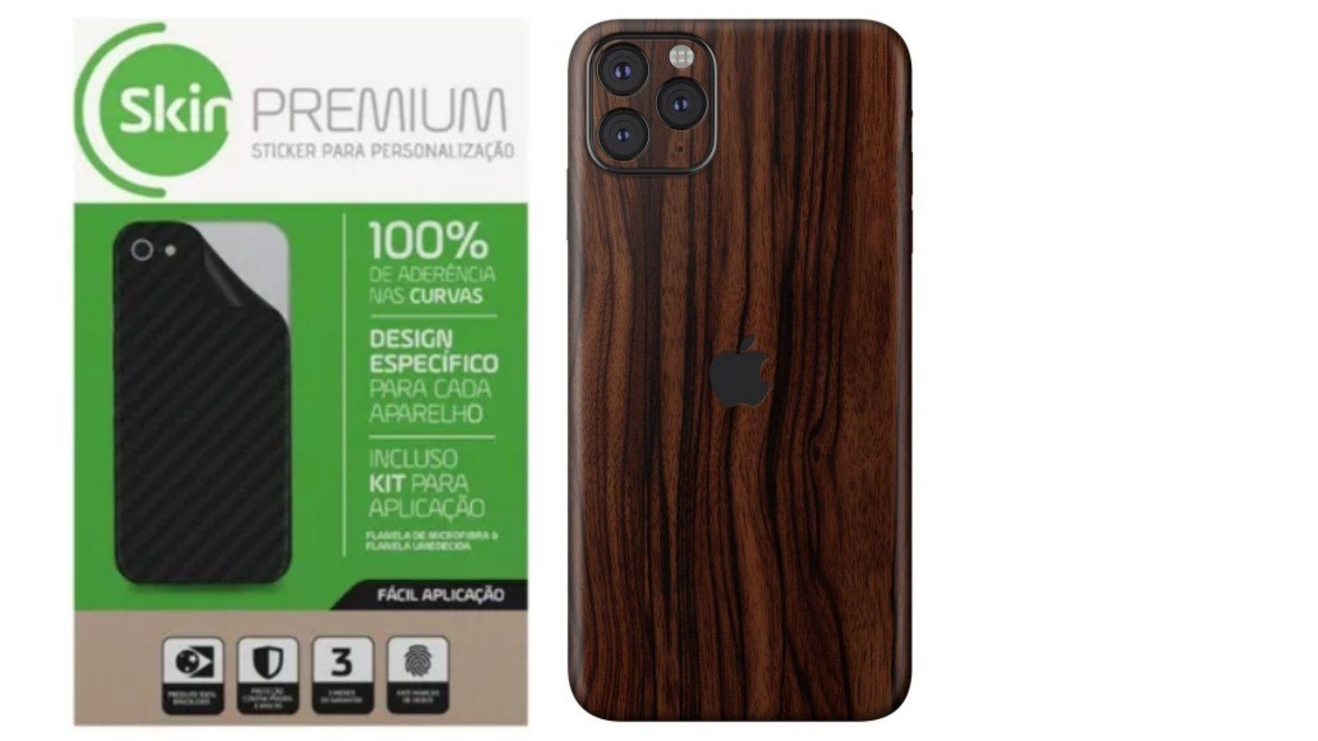 Skin Premium Estampa de Madeira Verso e Laterais para IPhone 11 Pro