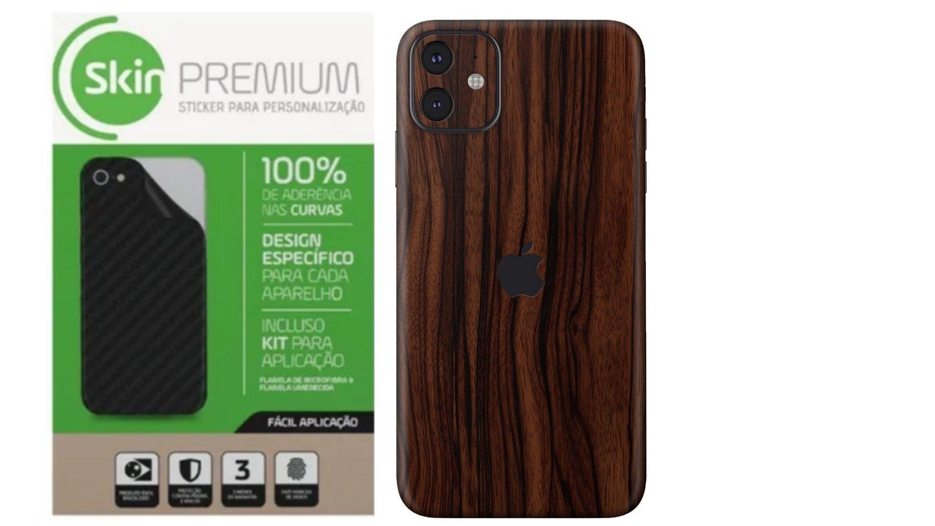 Skin Premium Estampa de Madeira Verso e Laterais para IPhone 11