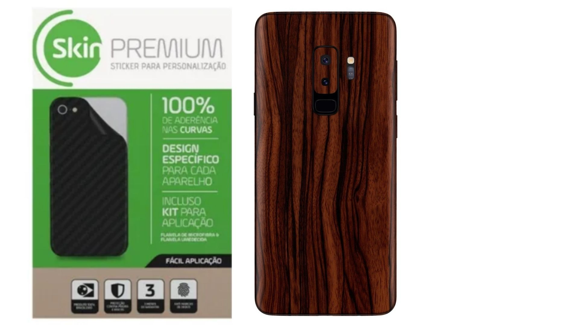 Skin Premium Estampa de Madeira Verso e Laterais para Samsung Galaxy S9