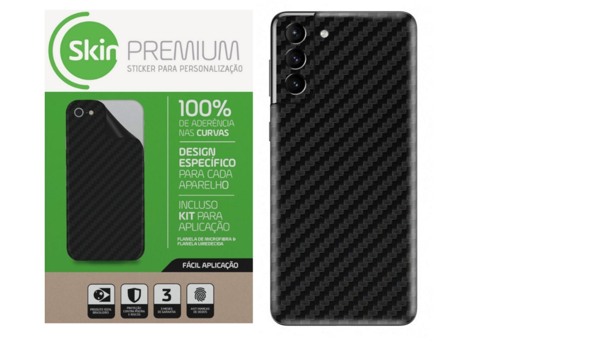 Skin Premium Estampa Fibra de Carbono para Samsung Galaxy S21 Plus