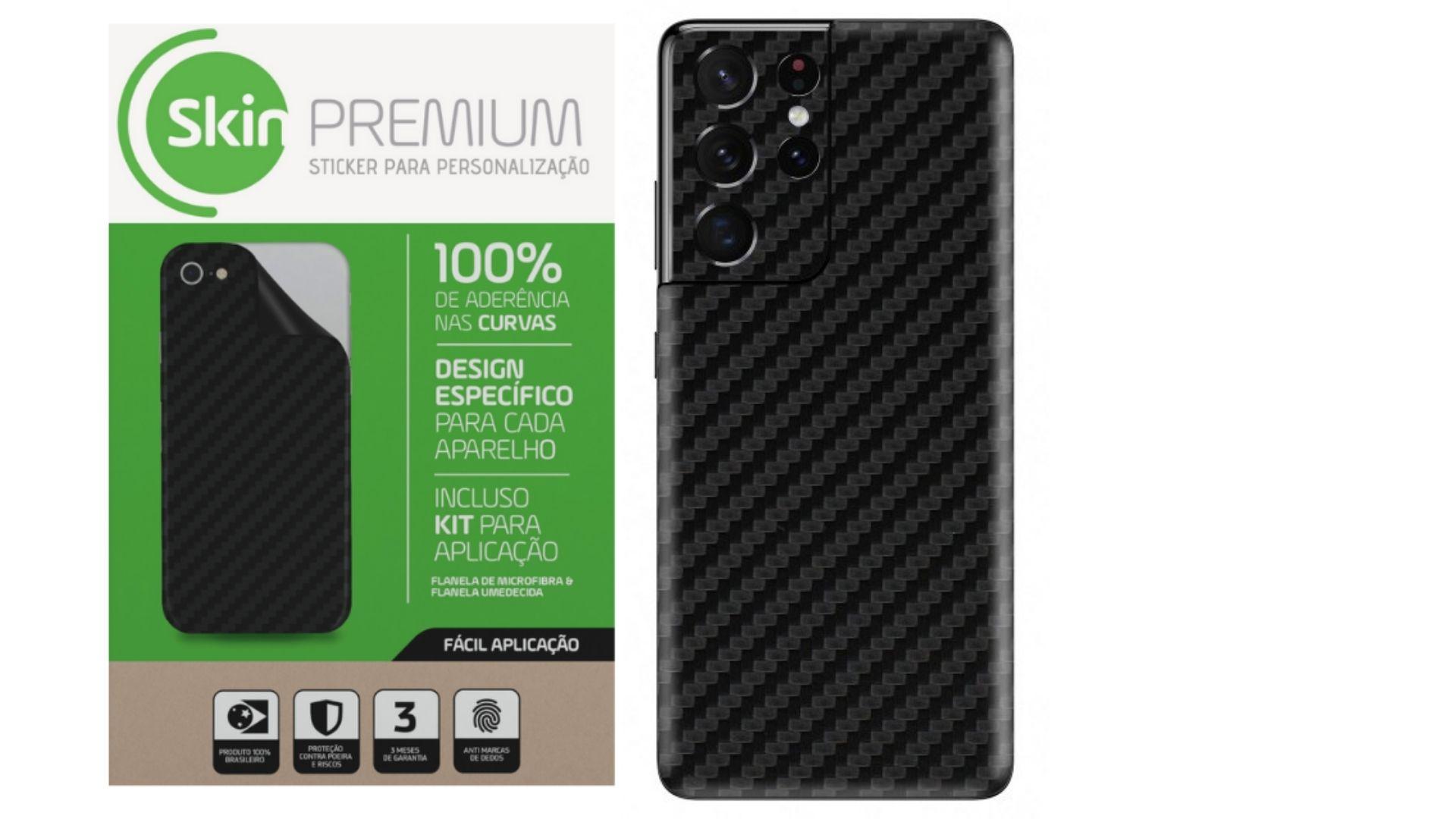 Skin Premium Estampa Fibra de Carbono para  Samsung Galaxy S21 Ultra