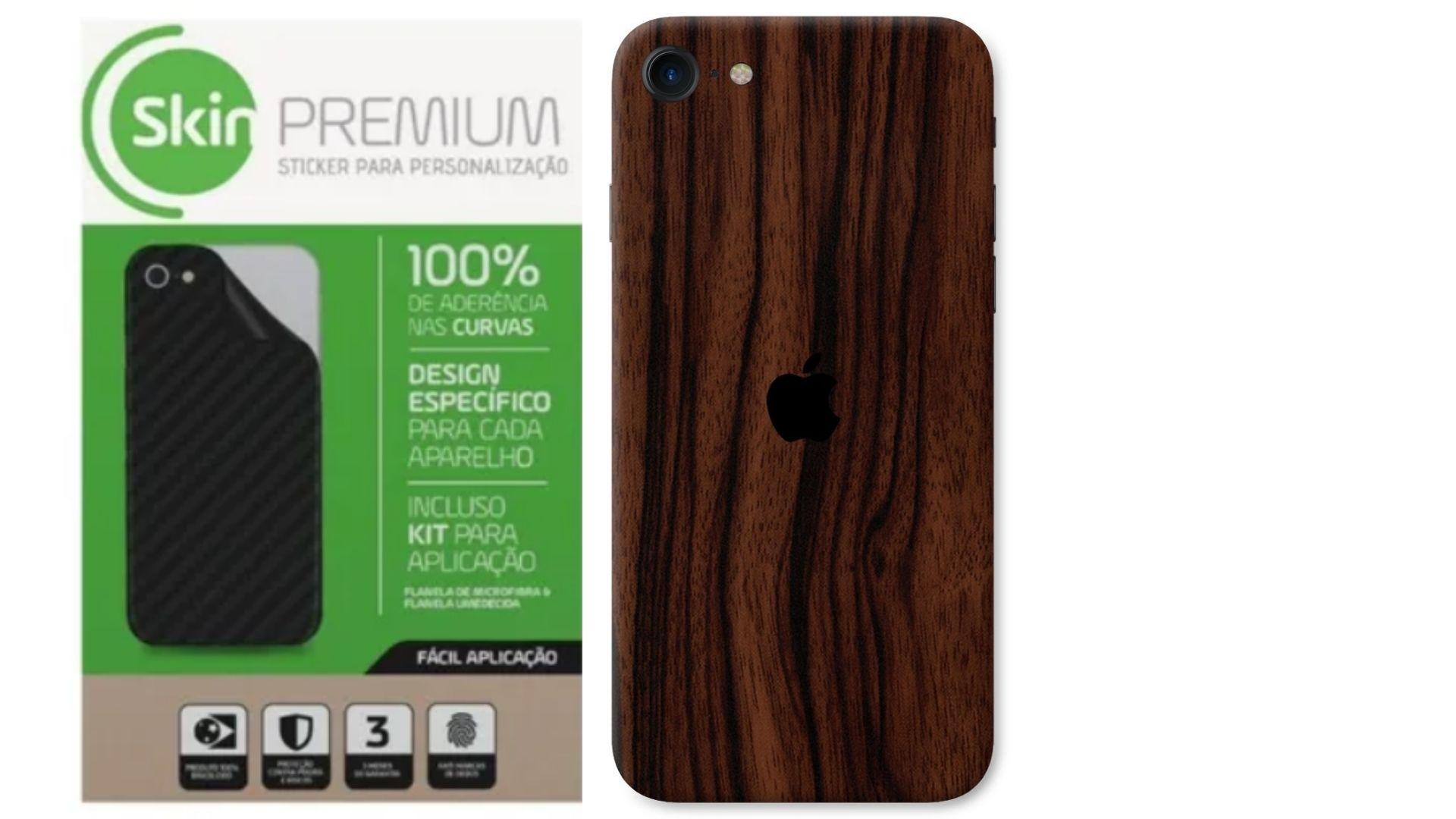 Skin Premium Verso e Laterais Estampa de Madeira para iPhone SE 2020