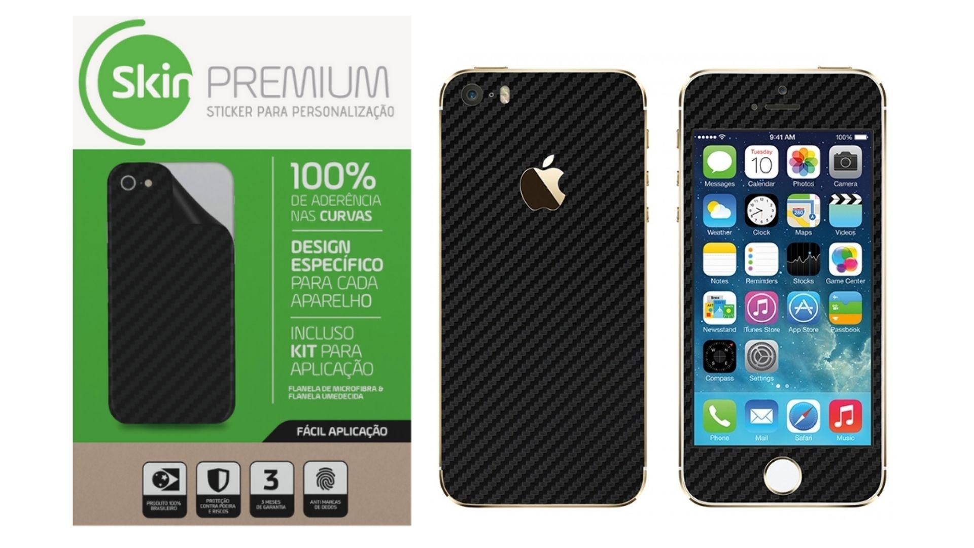 Skin Premium Fibra De Carbono Verso e Laterais para Iphone 5/5s/Se