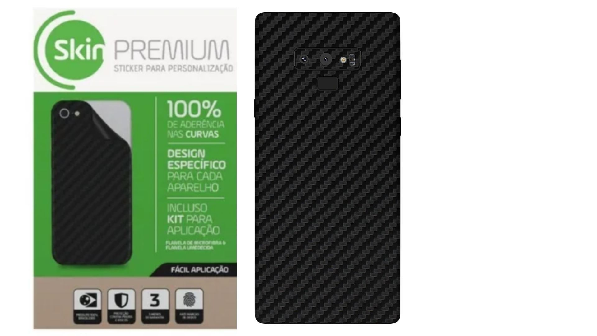 Skin Premium Fibra de Carbono Verso e Laterais para Samsung Galaxy Note 9